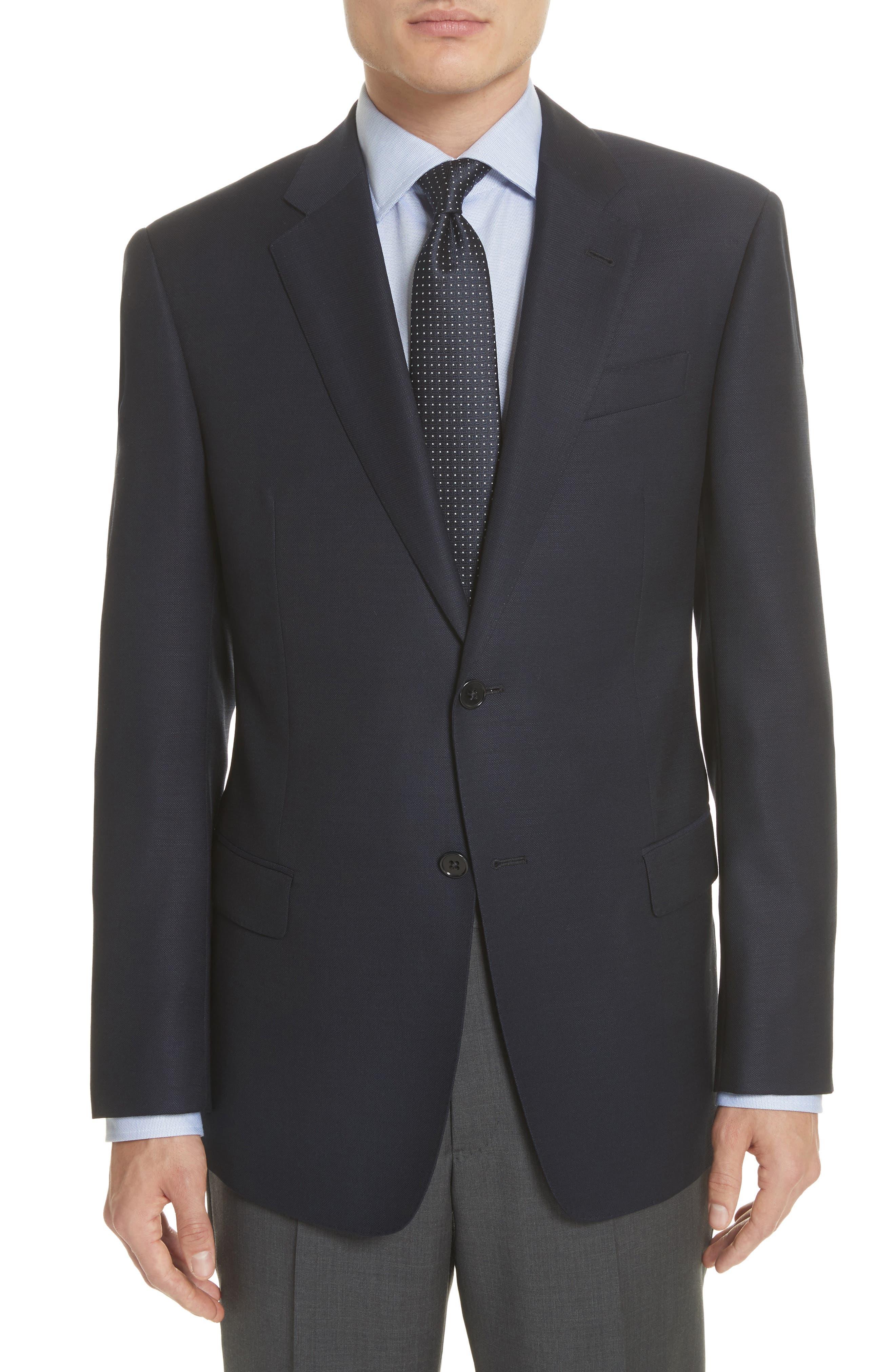 Trim Fit Wool Blazer,                         Main,                         color, Navy