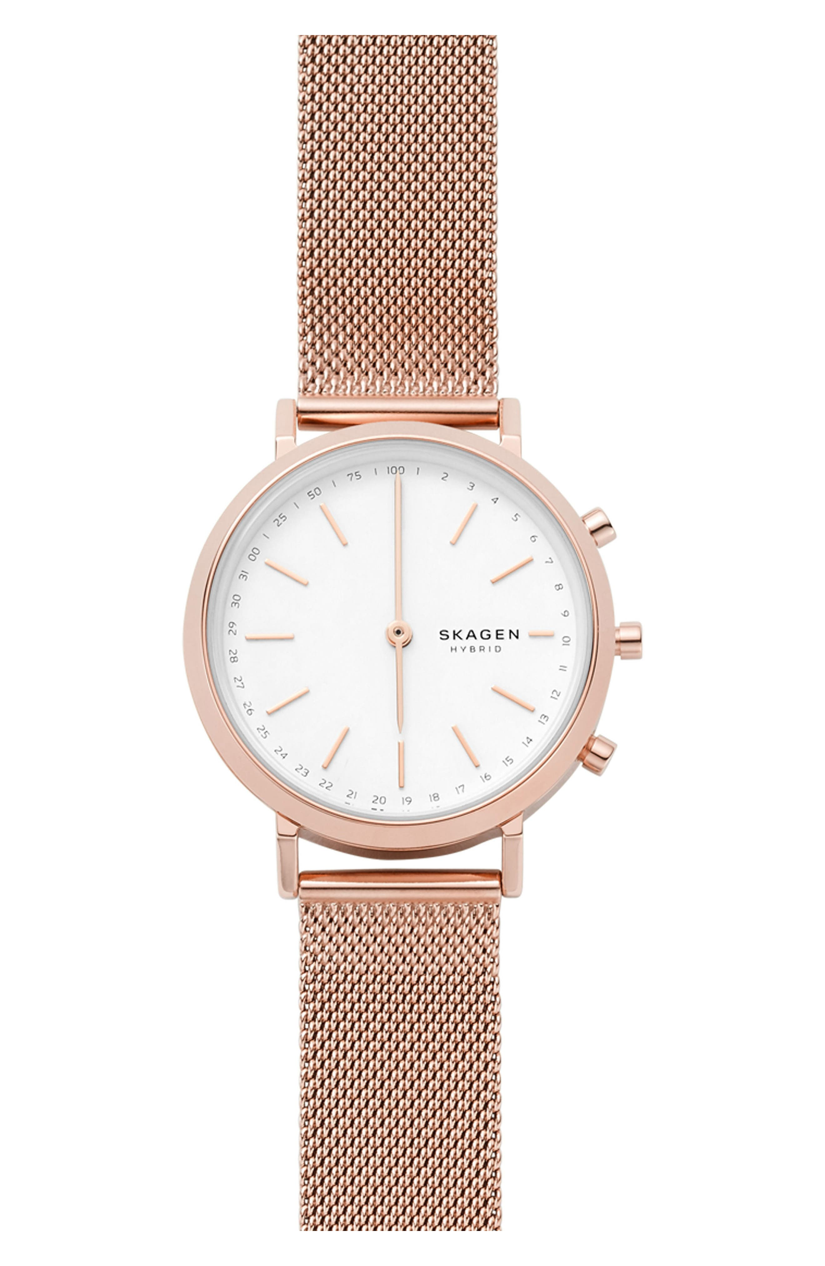 Hald Mesh Strap Hybrid Smart Watch, 34mm,                             Main thumbnail 1, color,                             Rose Gold/ White/ Rose Gold