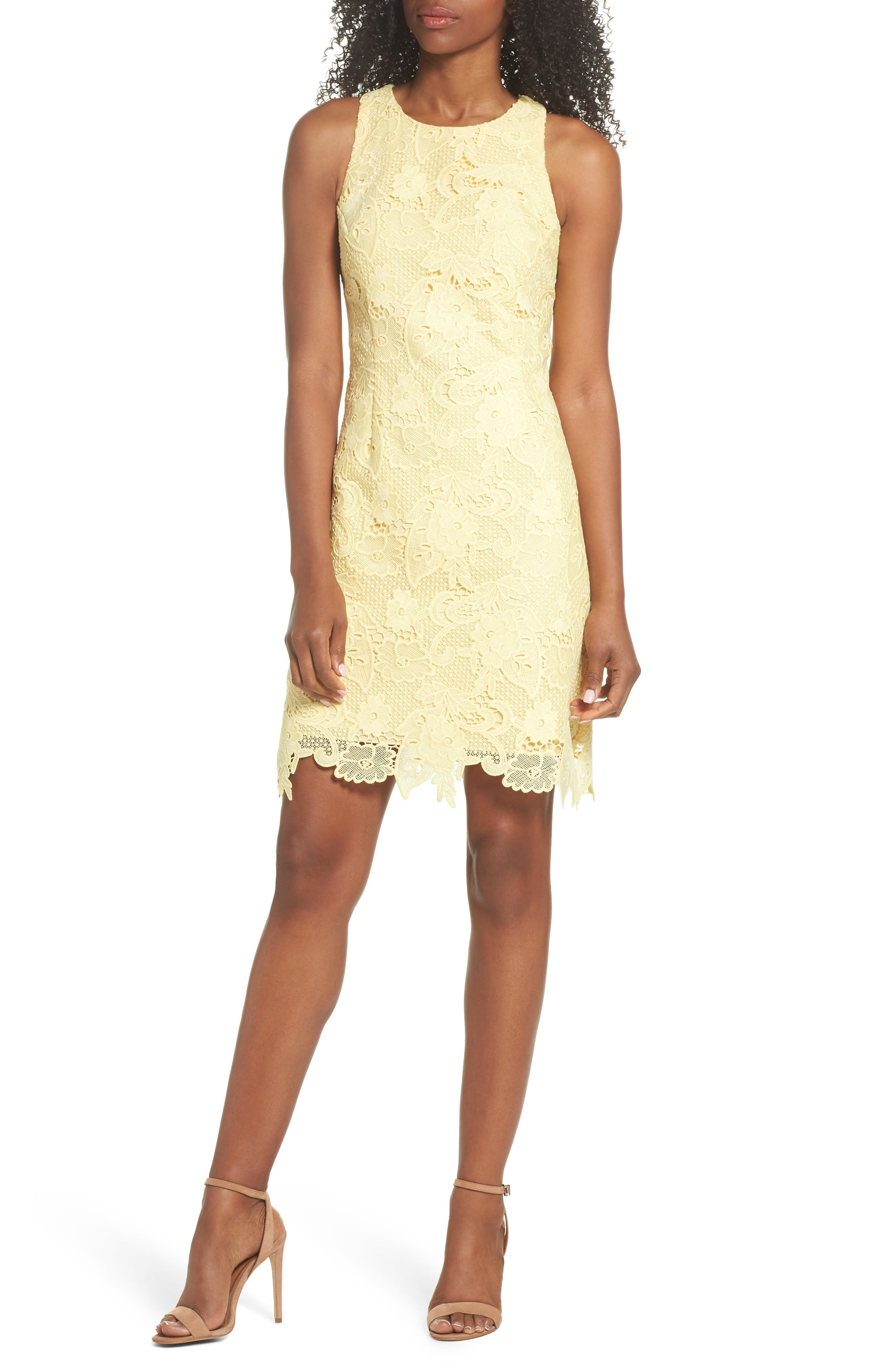 Lace Sheath Dress,                         Main,                         color, Yellow