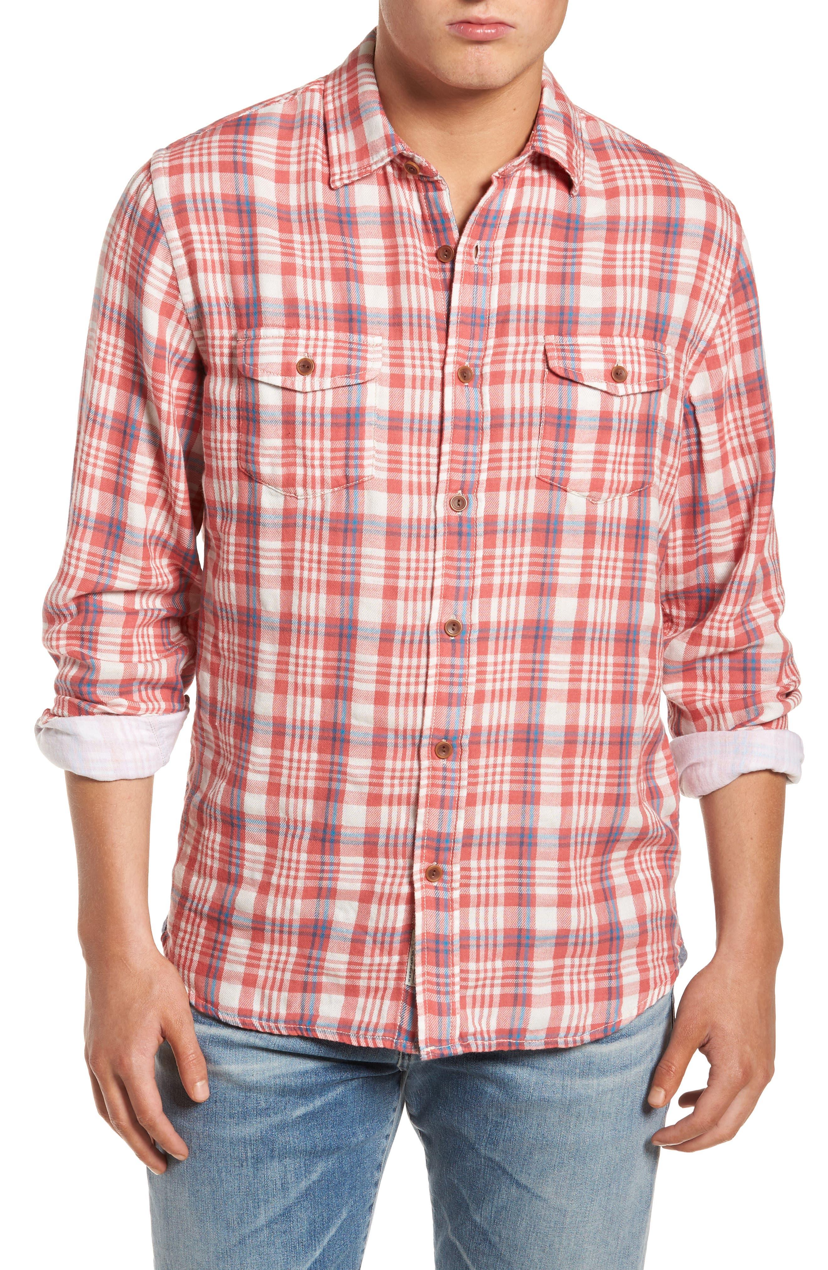 Barnard Slim Fit Plaid Sport Shirt,                         Main,                         color, Red Cream Plaid