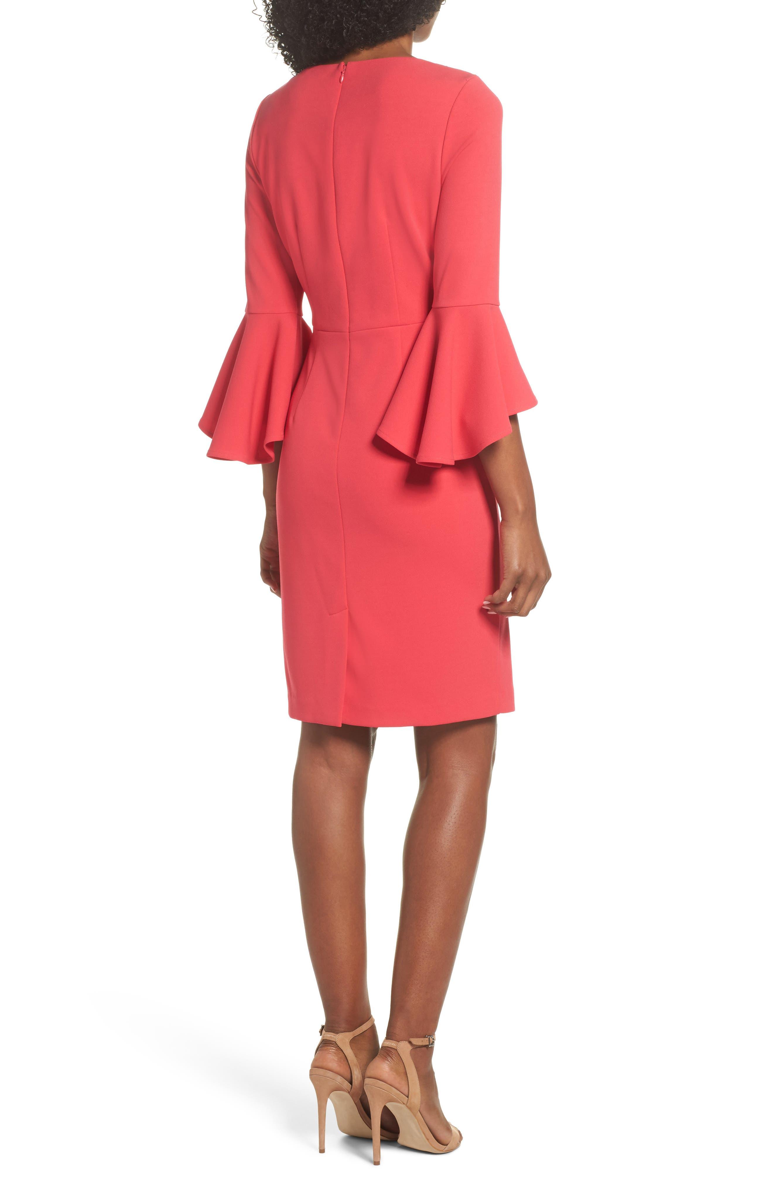 Embellished Bell Sleeve Sheath Dress,                             Alternate thumbnail 2, color,                             Berry