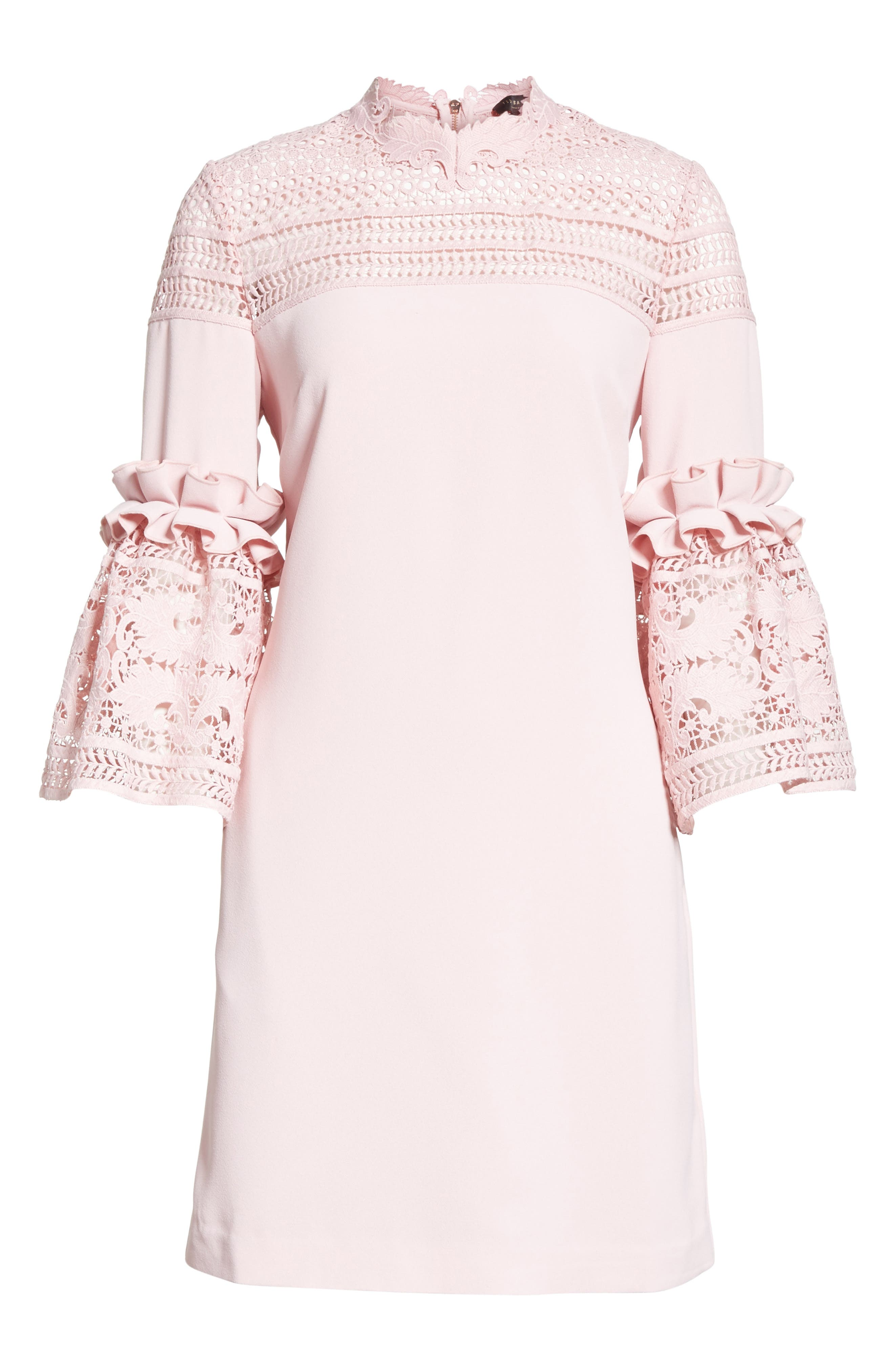 Lace Panel Bell Sleeve Tunic Dress,                             Alternate thumbnail 6, color,                             Dusky Pink