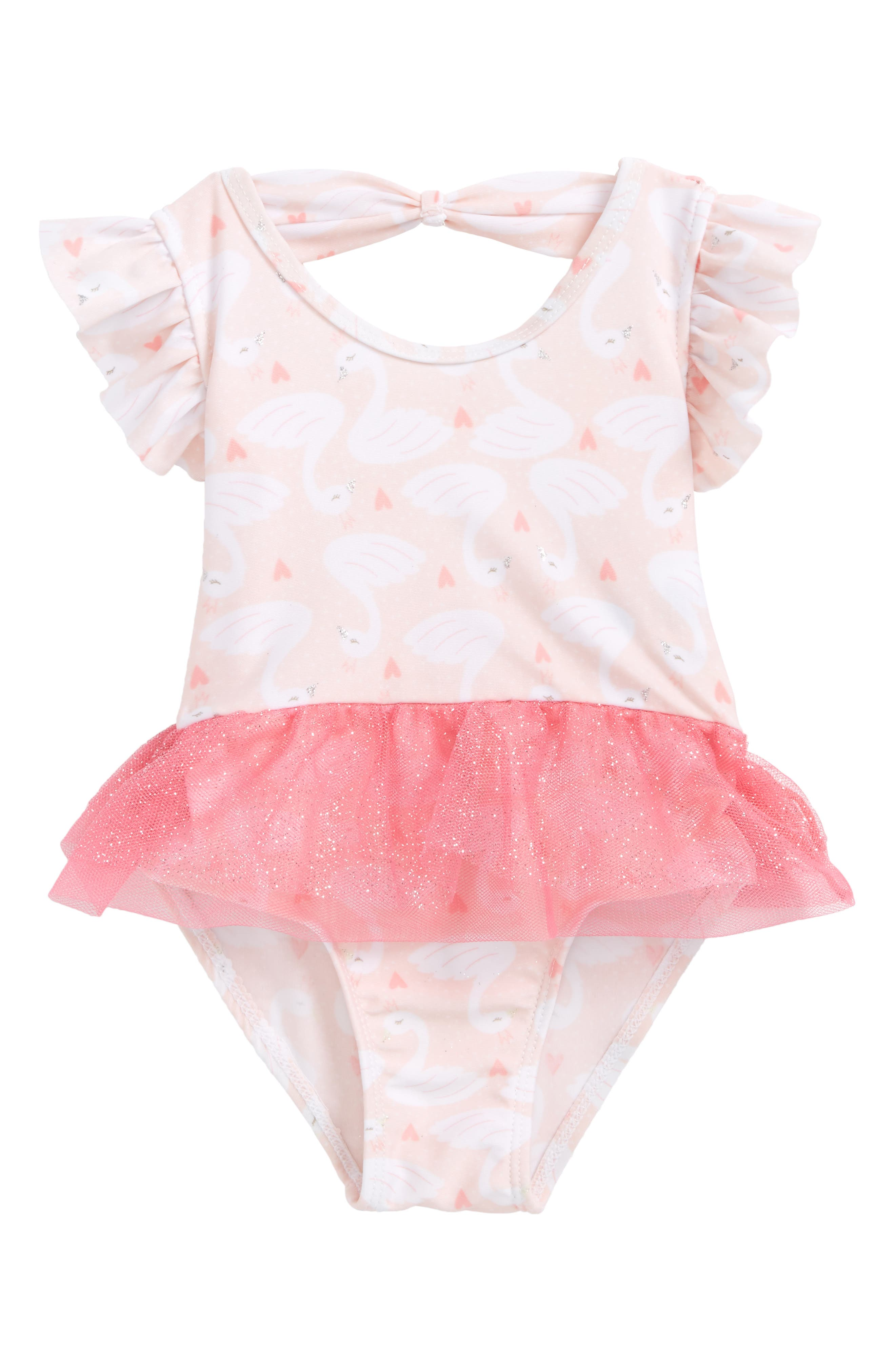 Main Image - Sol Swim Princess Swan One-Piece Swimsuit (Baby Girls)