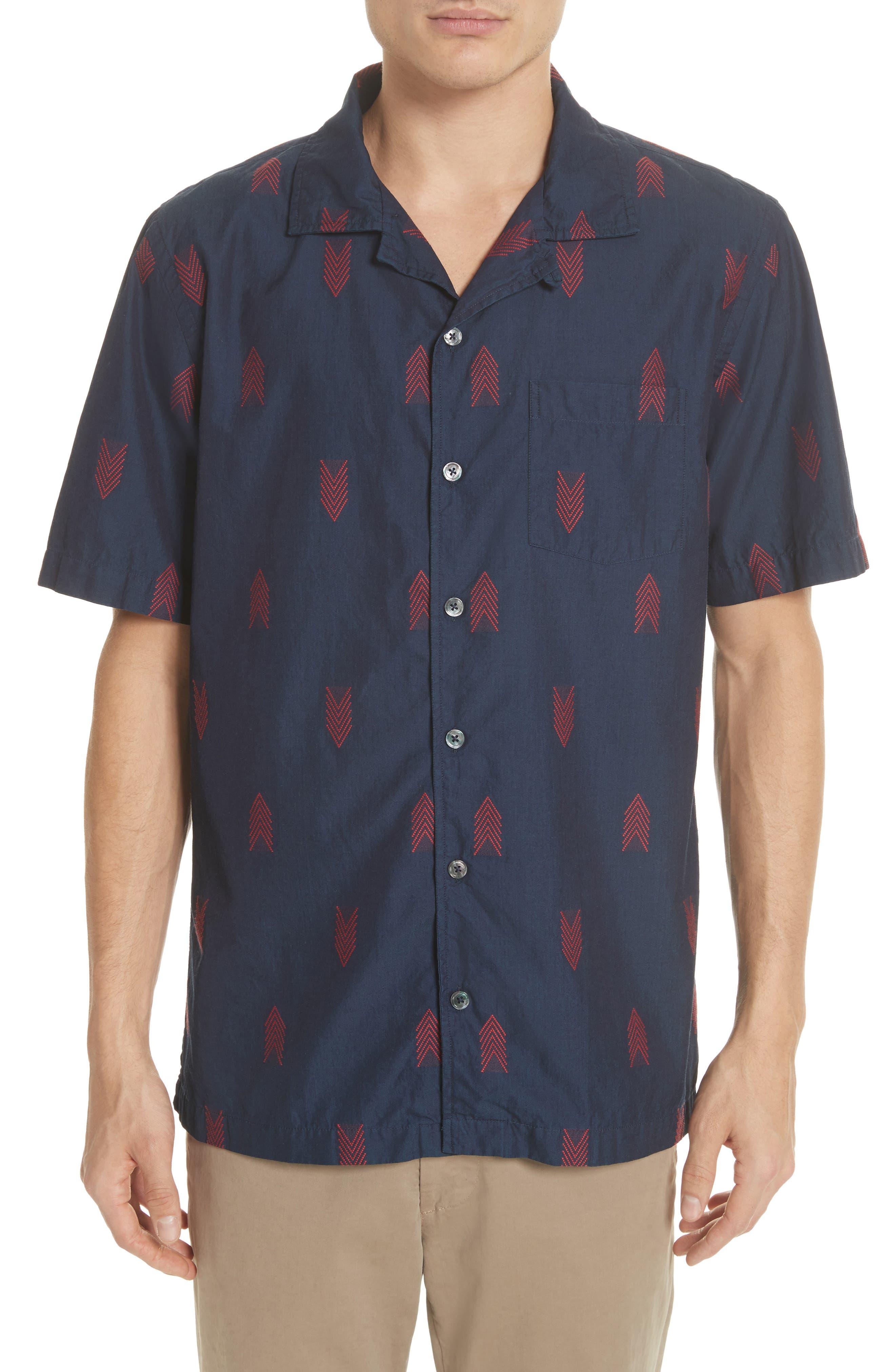 Short Sleeve Woven Shirt,                         Main,                         color, Indigo