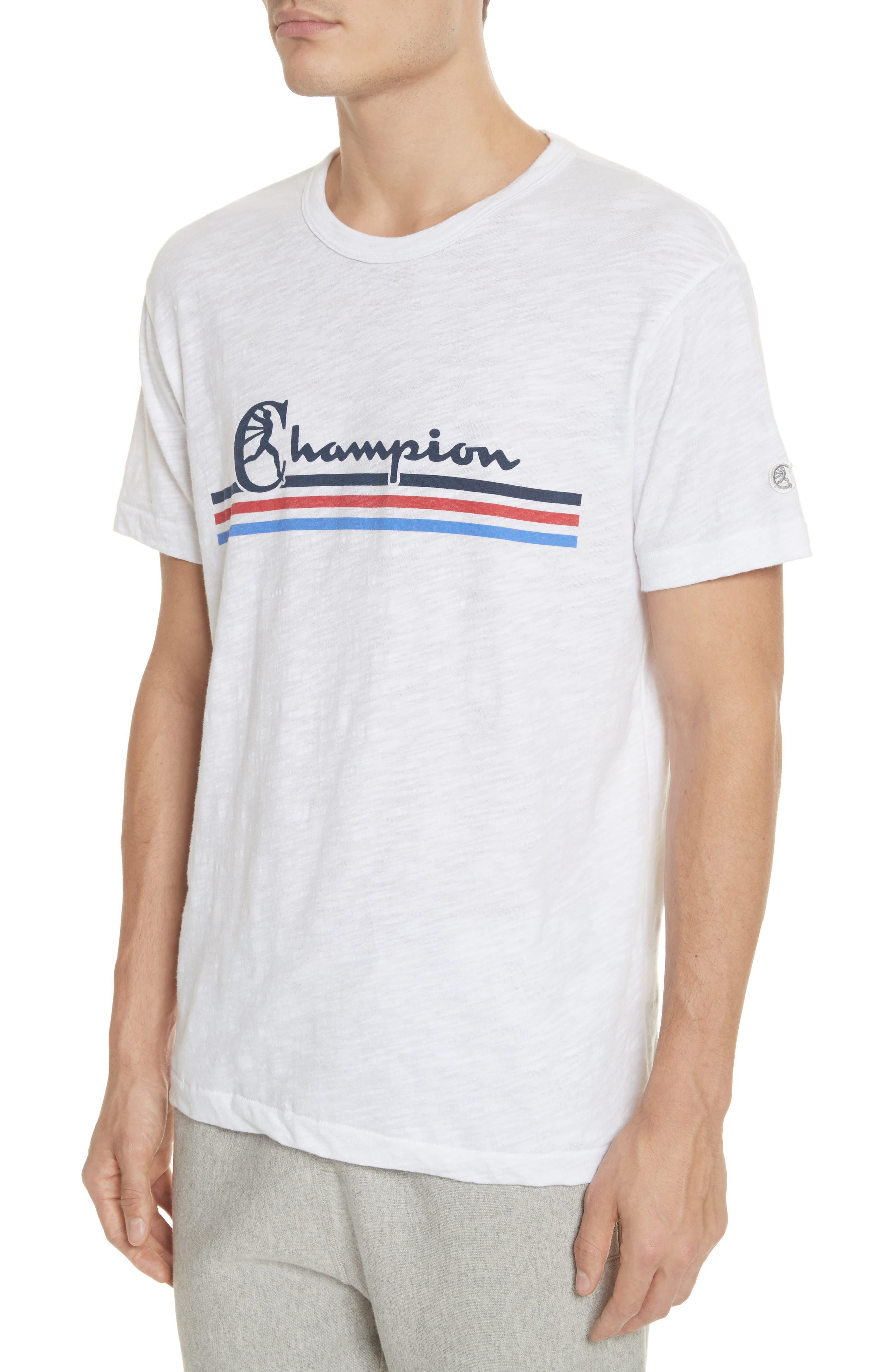 + Champion Stripe Logo T-Shirt,                             Alternate thumbnail 4, color,                             True White