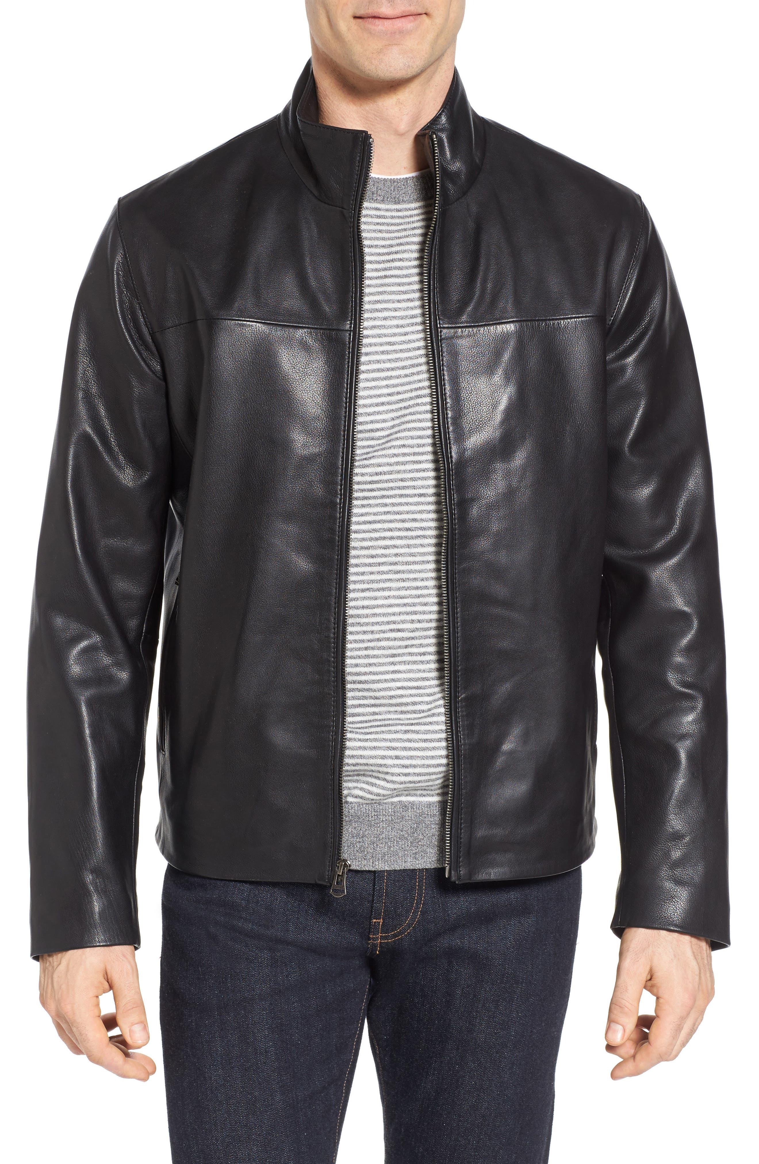 Washed Leather Jacket,                             Main thumbnail 1, color,                             Black