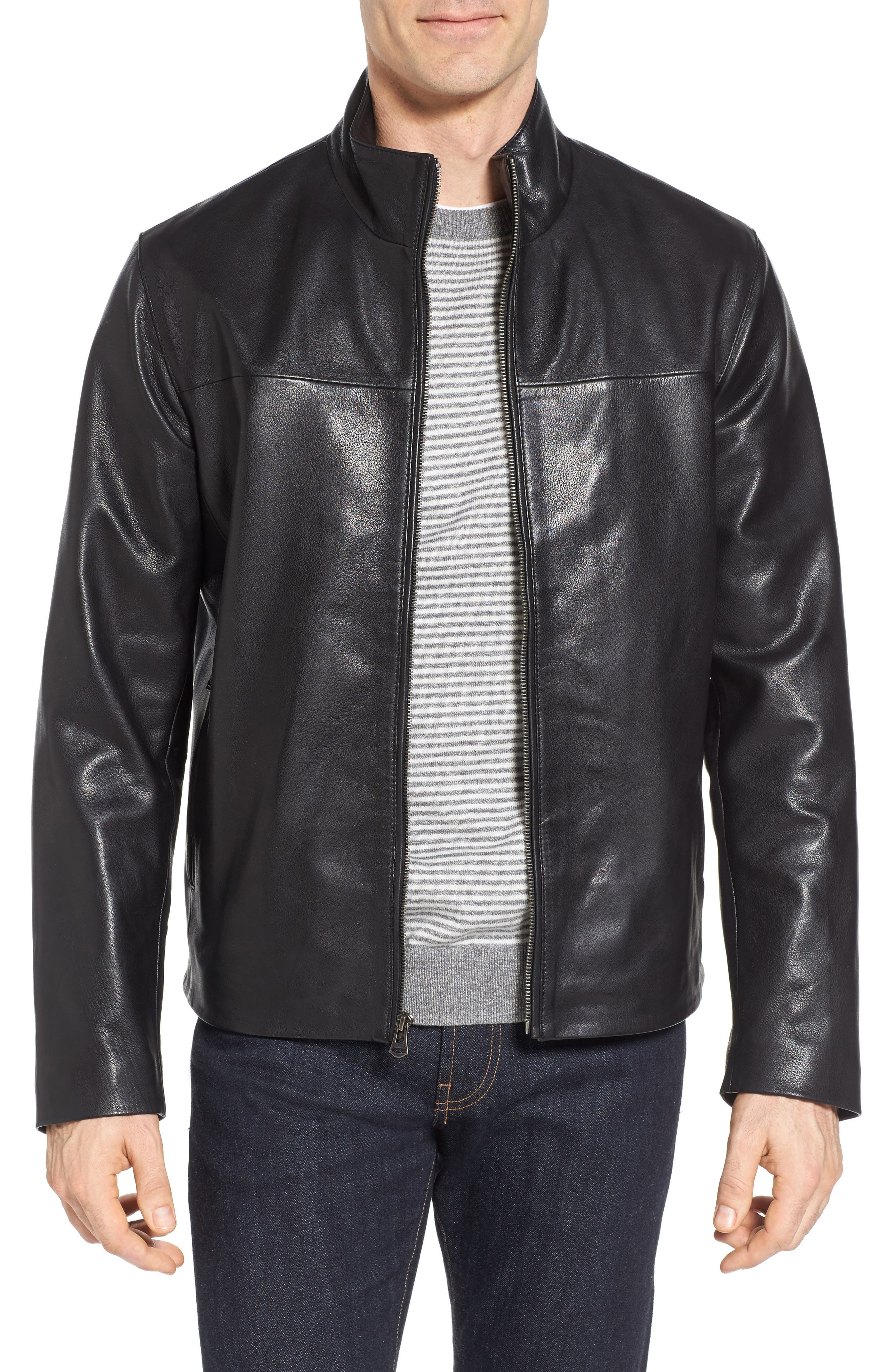 Washed Leather Jacket,                         Main,                         color, Black