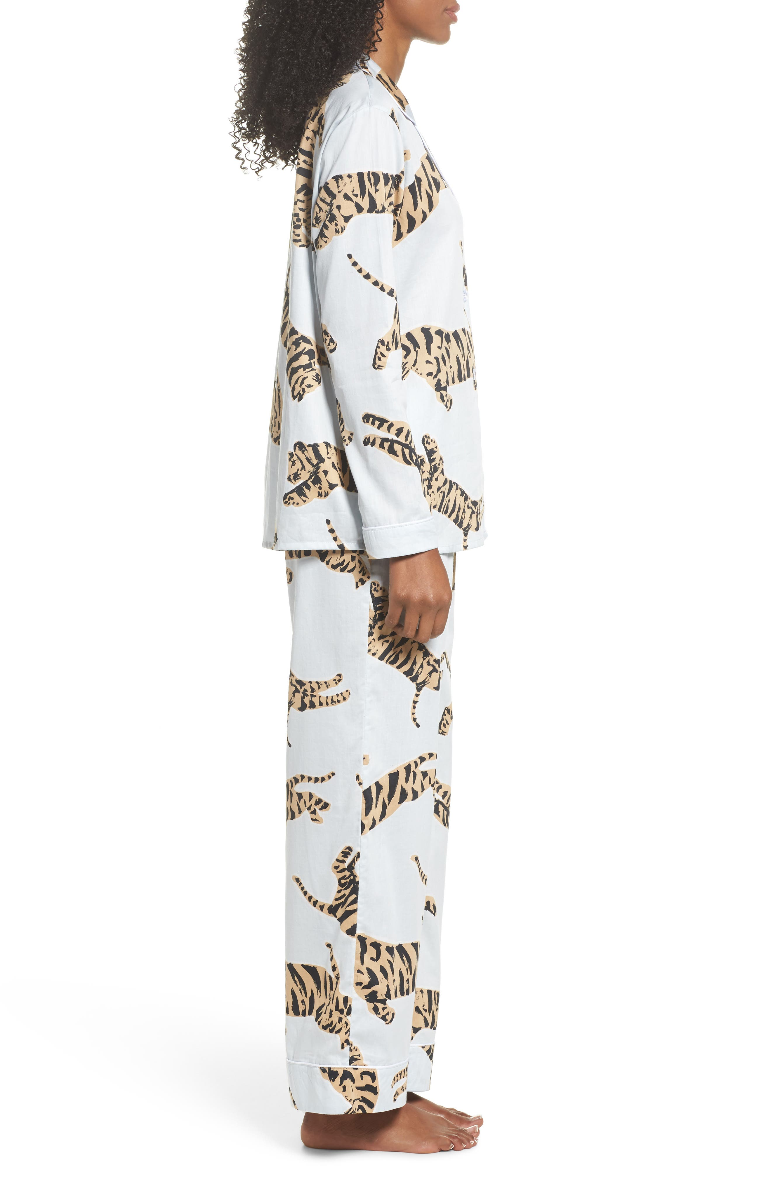 Suzie Cotton Pajamas,                             Alternate thumbnail 3, color,                             Tiger Moon Light Blue