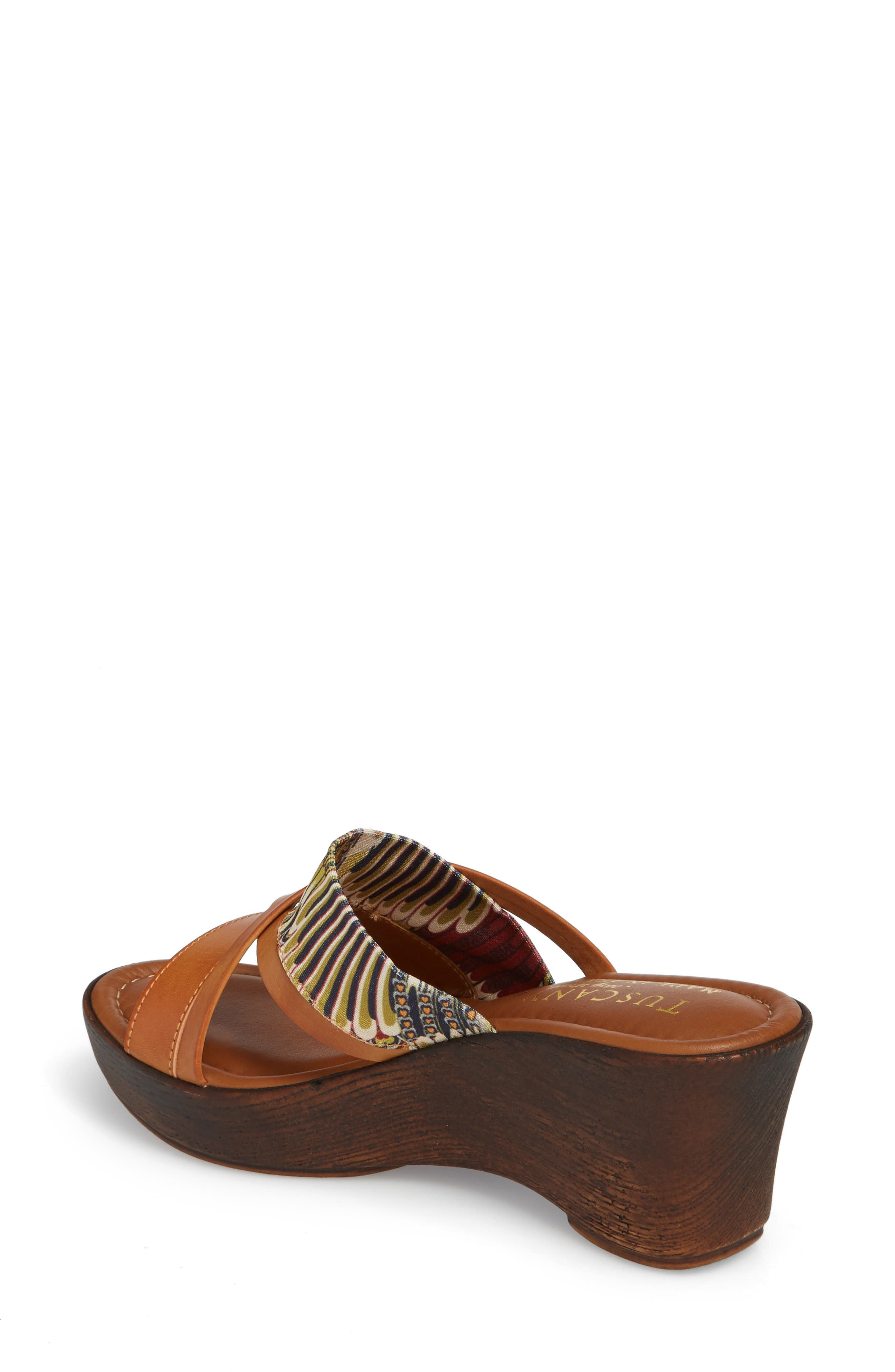 by East Street<sup>®</sup> Lucette Strappy Wedge Mule,                             Alternate thumbnail 2, color,                             Natural/ Feather Faux Leather