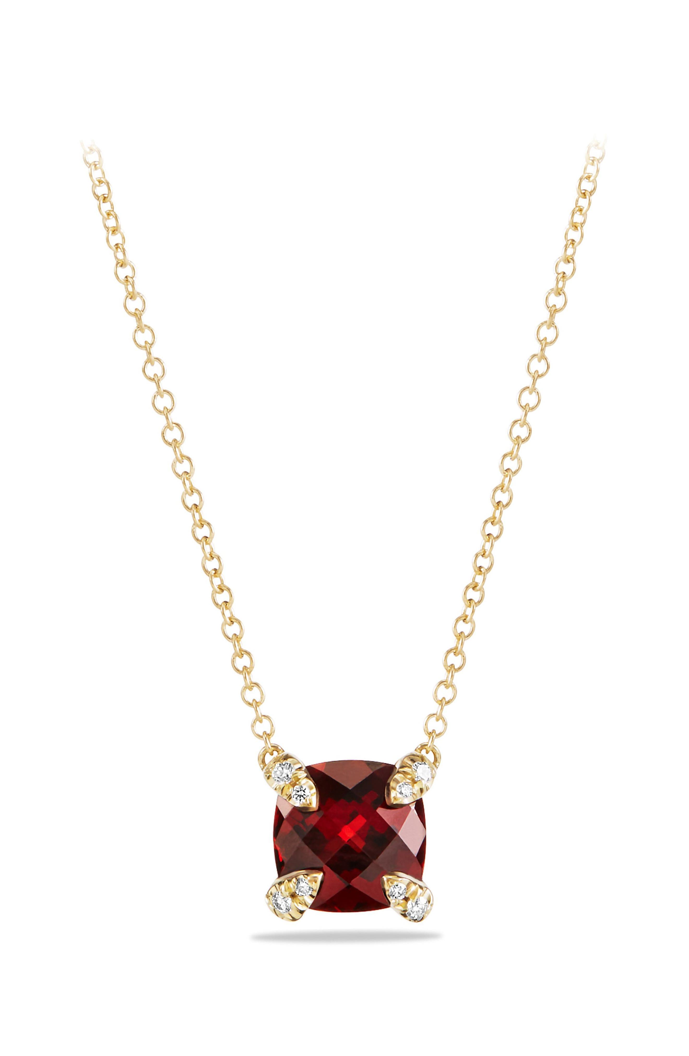 'Châtelaine' Pendant Necklace with Semiprecious Stone and Diamonds in 18K Gold,                         Main,                         color, Garnet