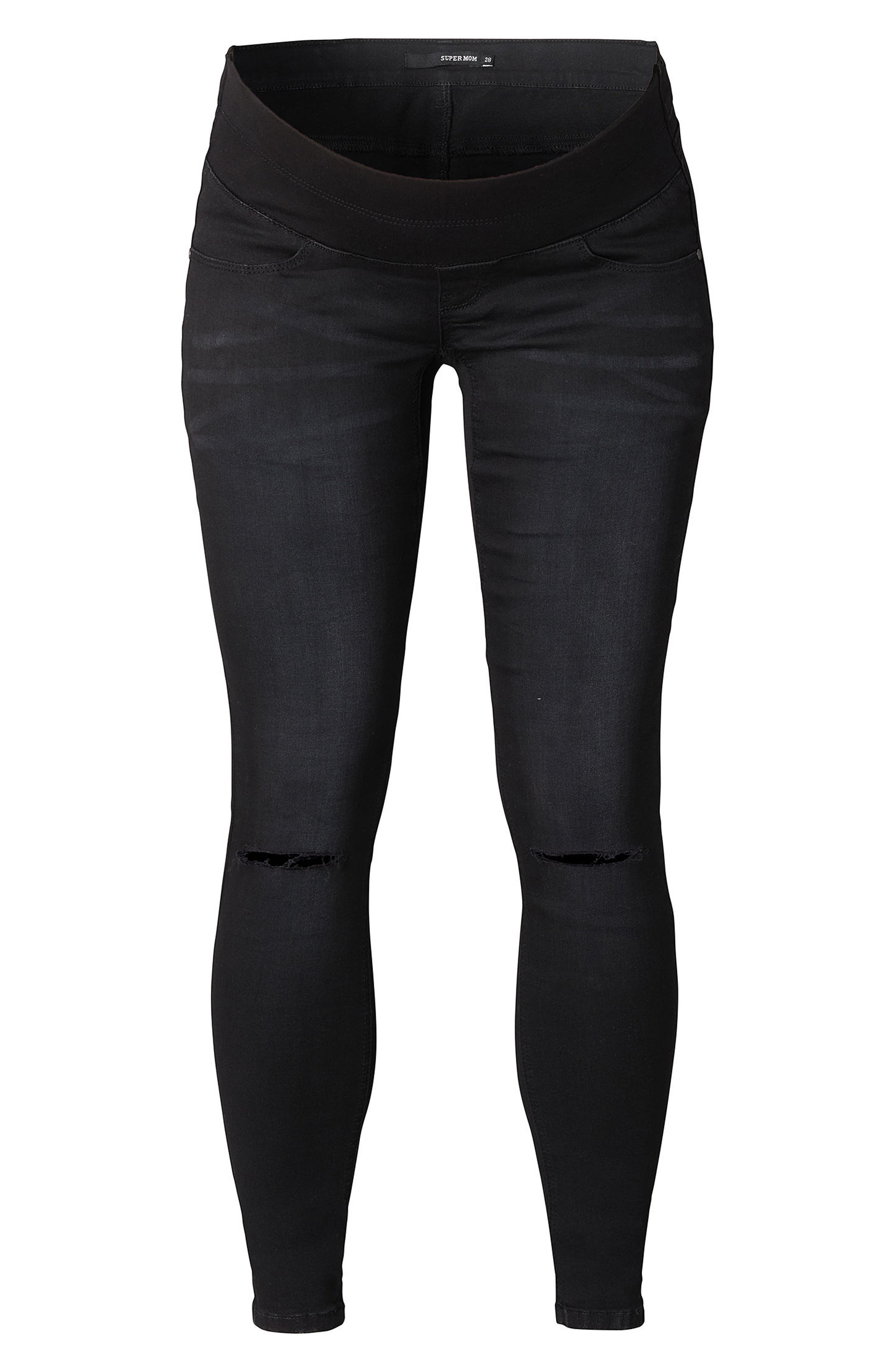Under the Belly Skinny Maternity Jeans,                             Main thumbnail 1, color,                             Black Denim