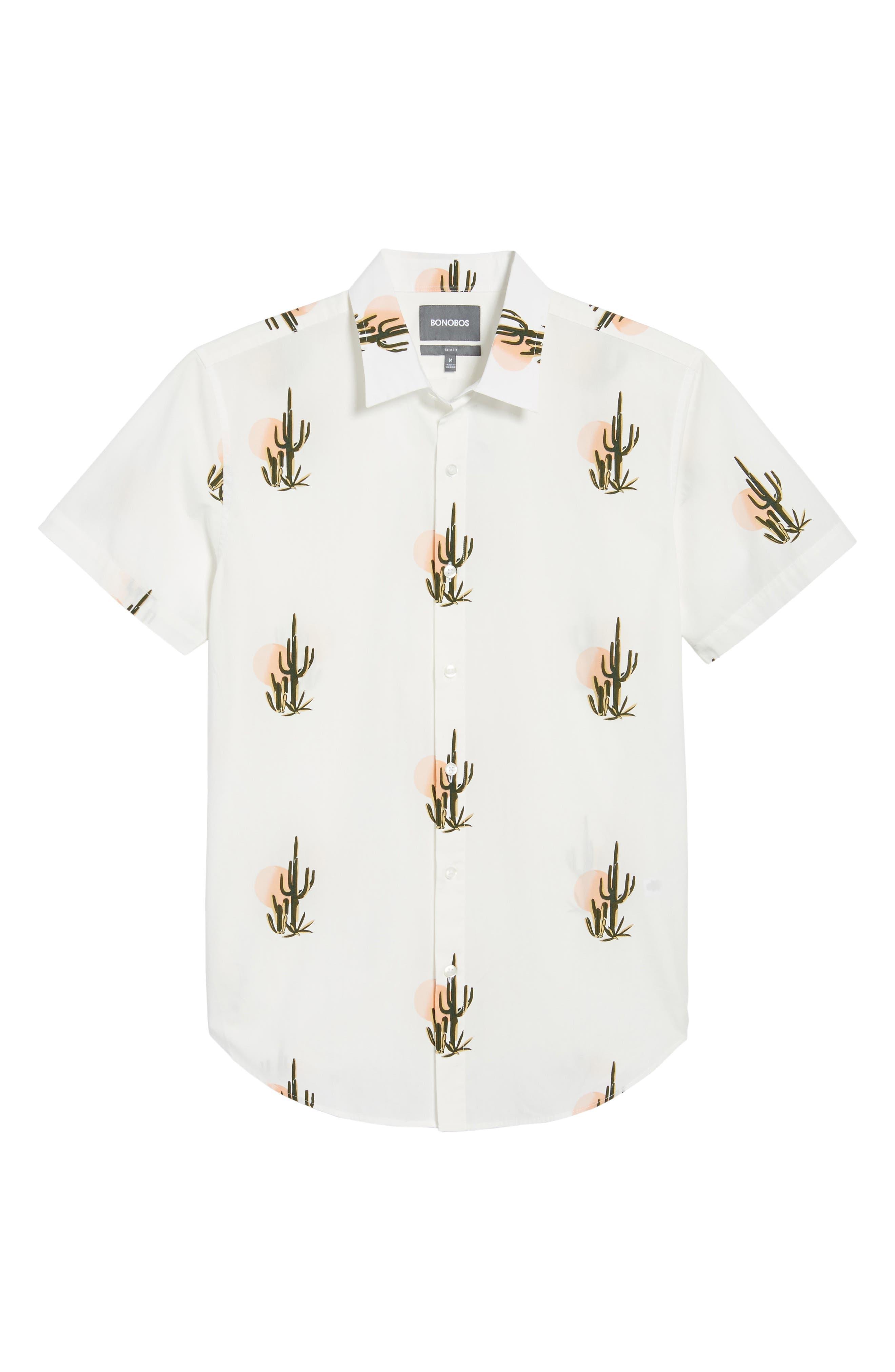 Slim Fit Print Short Sleeve Sport Shirt,                             Alternate thumbnail 6, color,                             Sunset Cacti - Sorbet