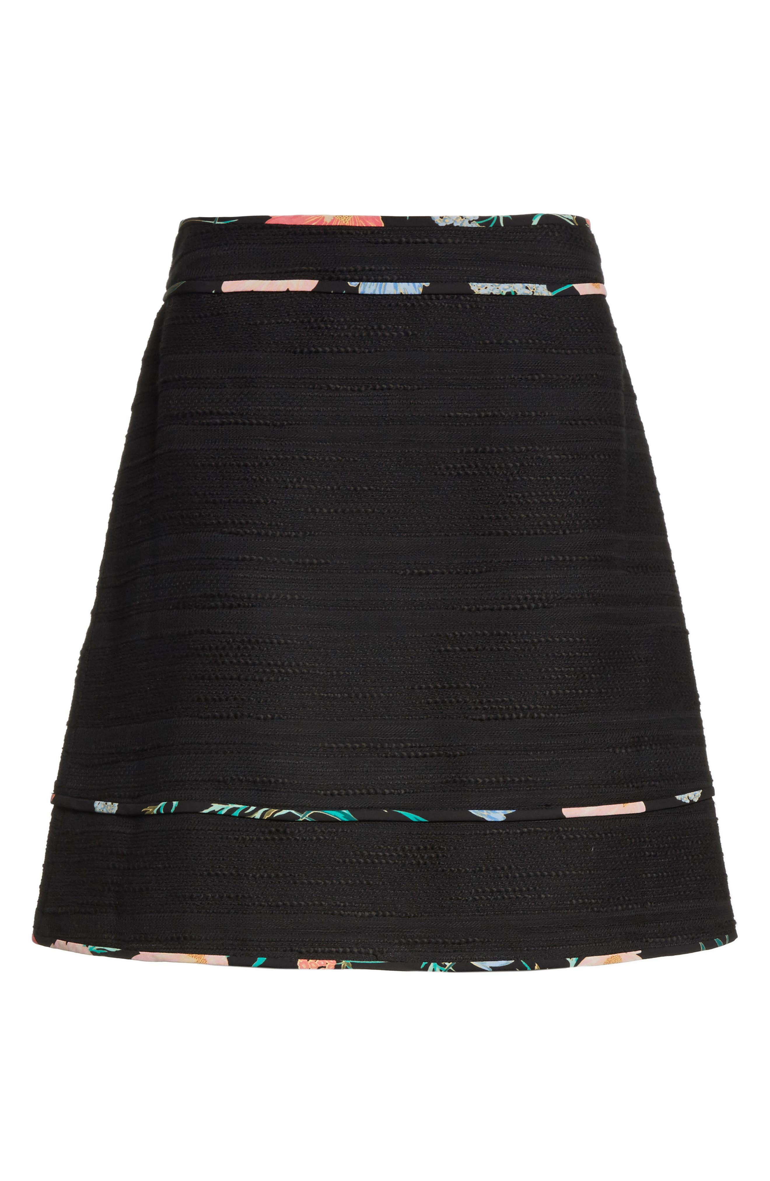 blossom trim tweed A-line skirt,                             Alternate thumbnail 6, color,                             Black