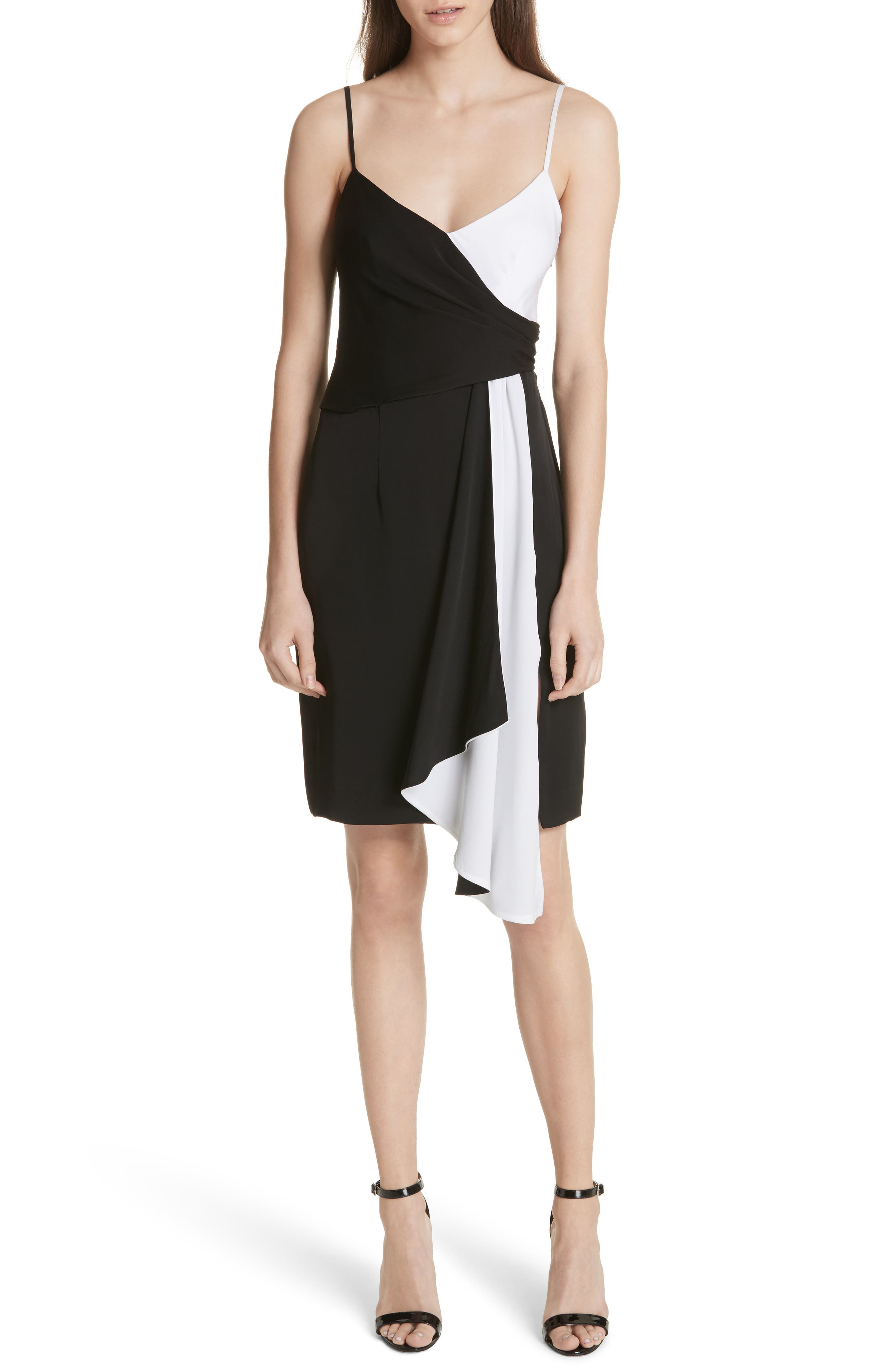 Cindy Two-Tone Stretch Silk Dress,                         Main,                         color, Black/ White