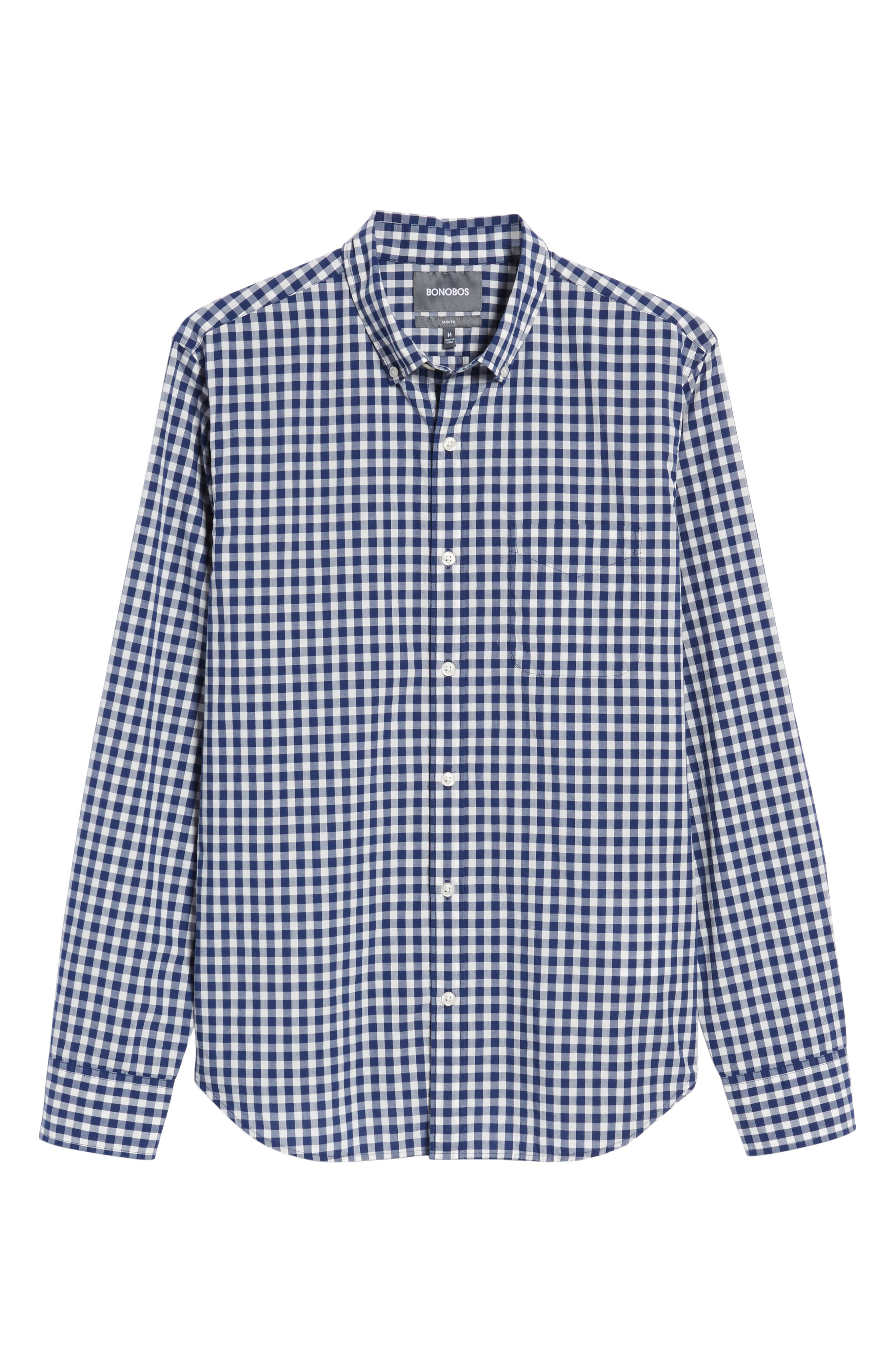 Summerweight Slim Fit Check Sport Shirt,                             Alternate thumbnail 6, color,                             Canyon Gingham - Blue Depths