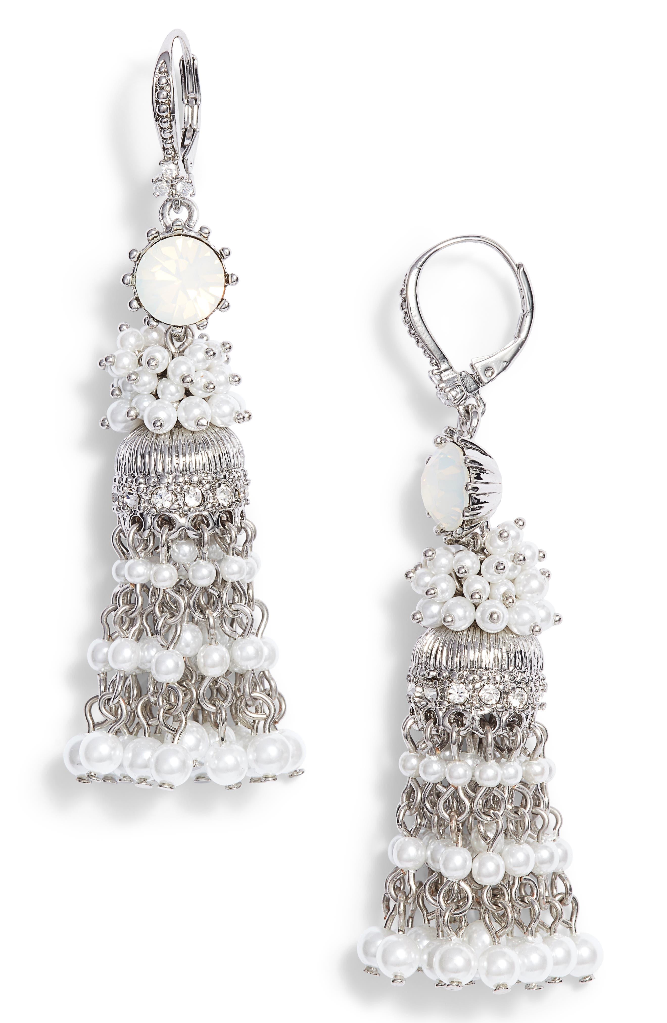 Tassel Linear Drop Earrings,                         Main,                         color, Silver/ White Multi
