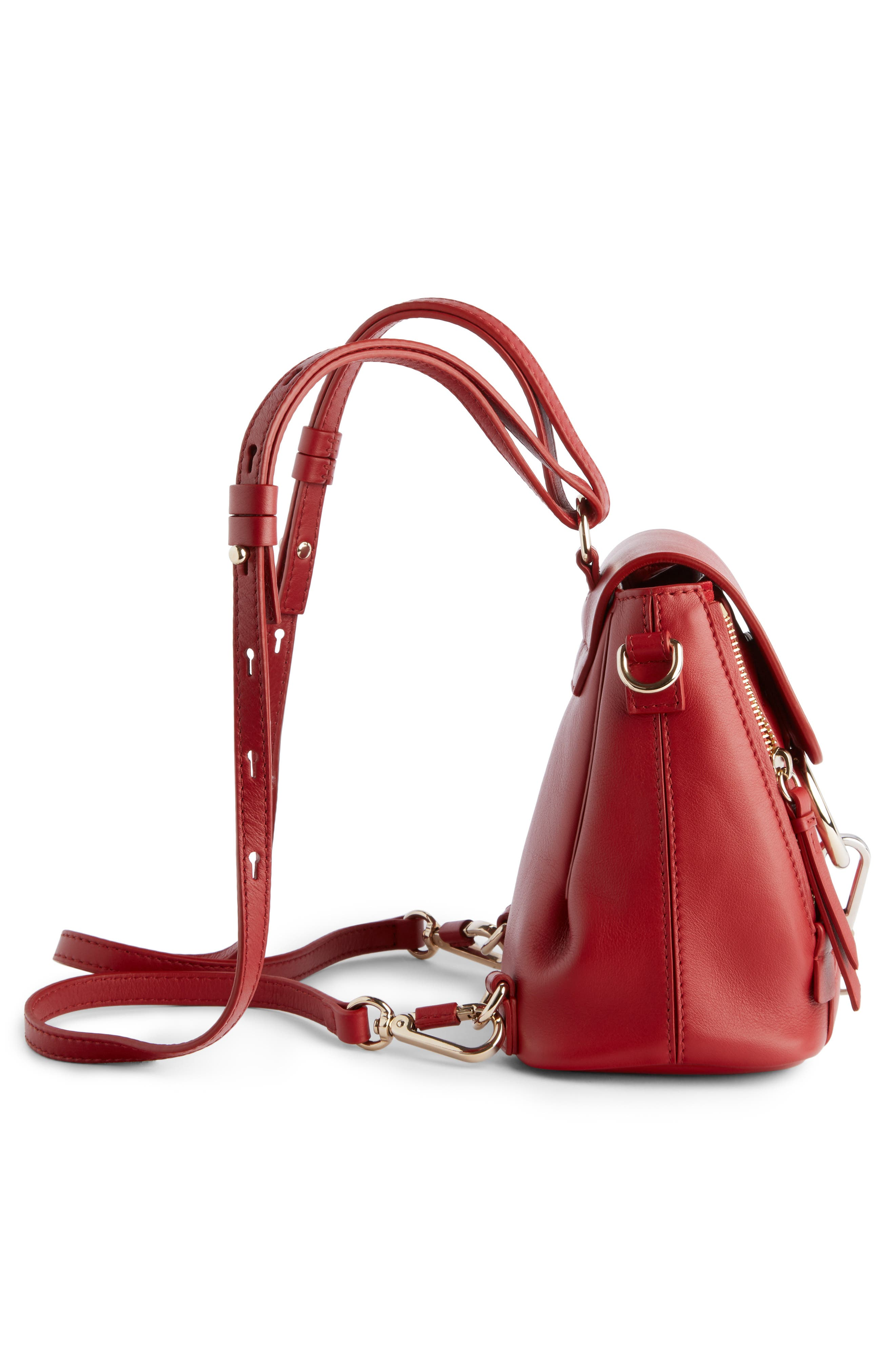 Faye Quilted Leather Backpack,                             Alternate thumbnail 3, color,                             Dahlia Red