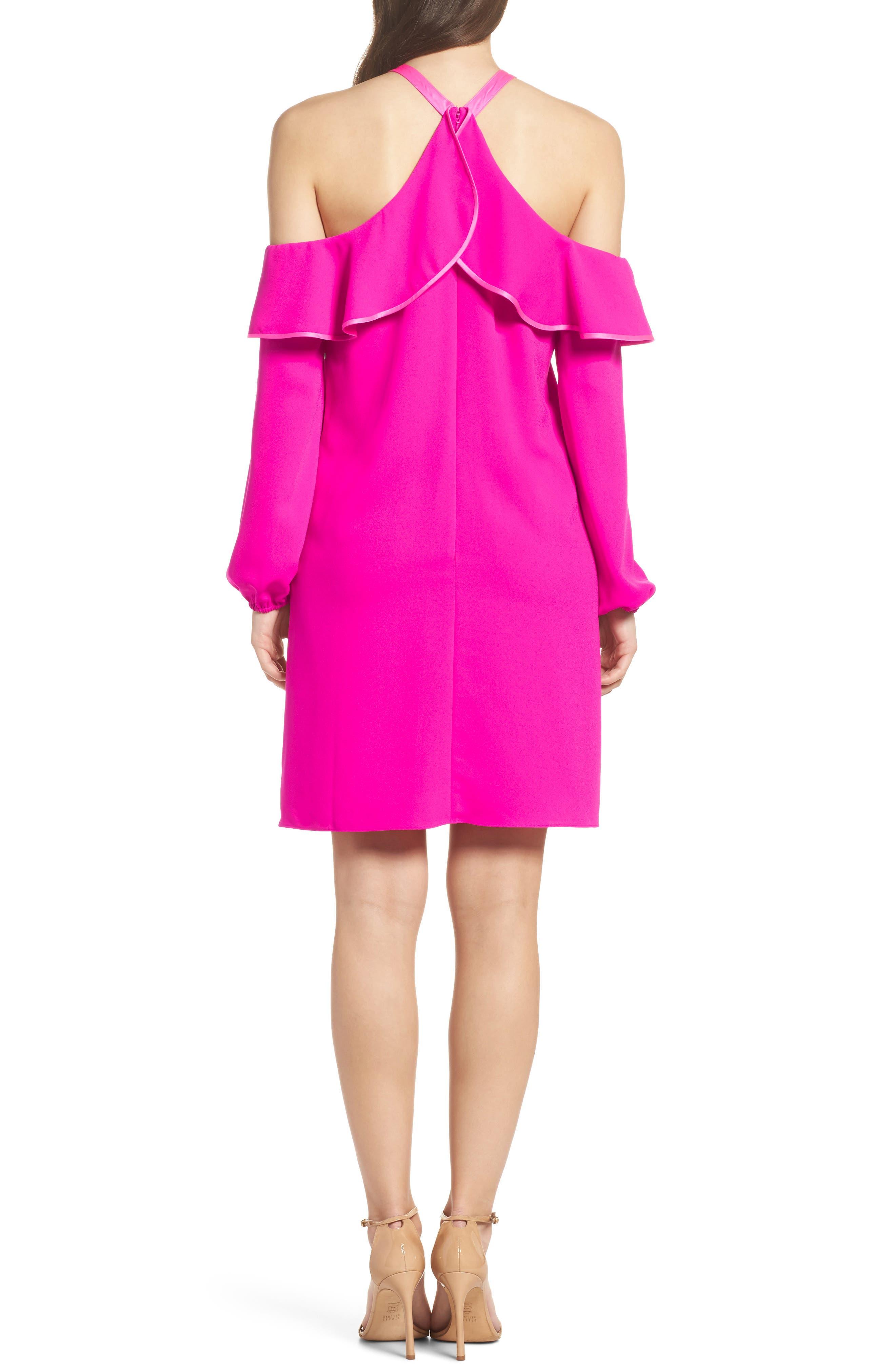 Abrielle Ruffle A-Line Dress,                             Alternate thumbnail 2, color,                             Berry Sangria