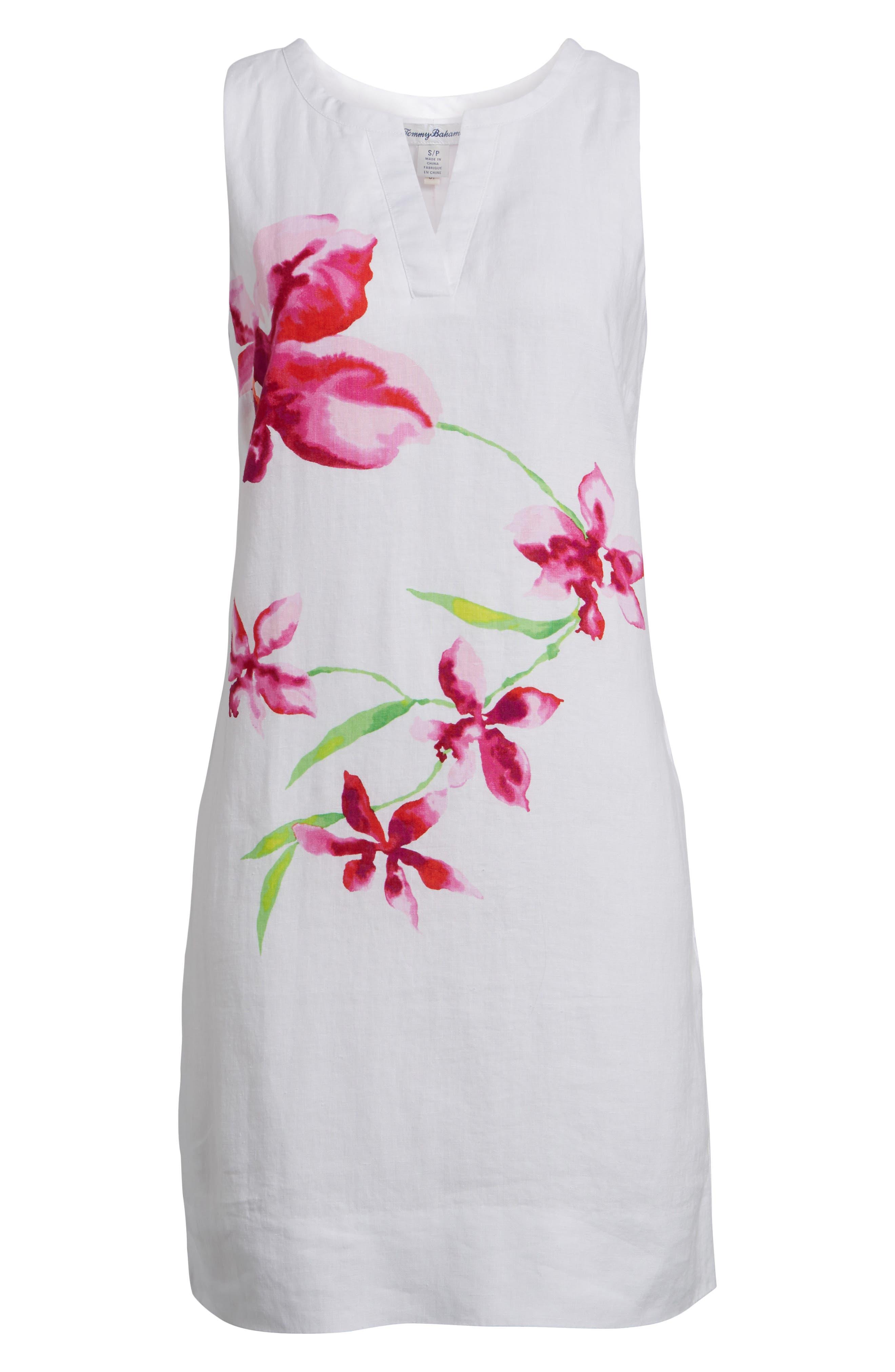 Floral Fade Shift Dress,                             Alternate thumbnail 6, color,                             White