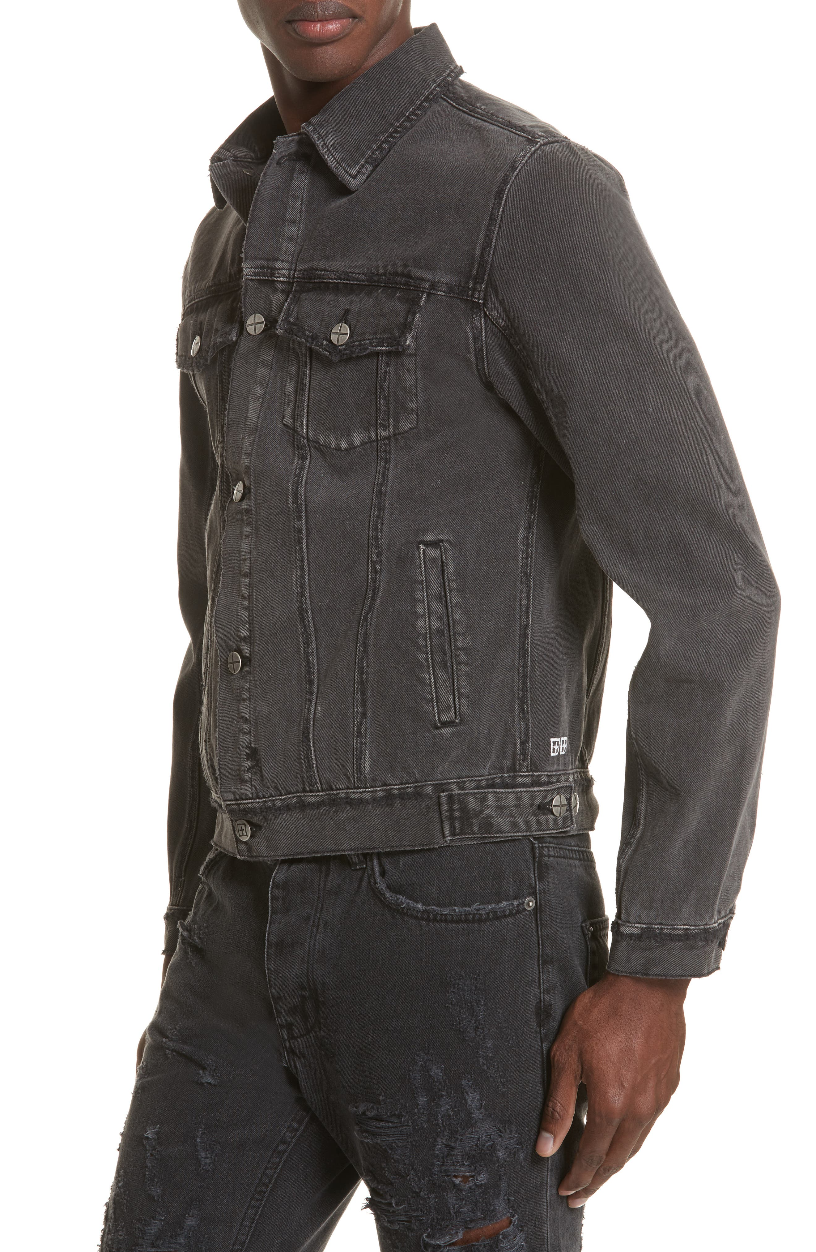 Classic Denim Jacket,                             Alternate thumbnail 4, color,                             Black