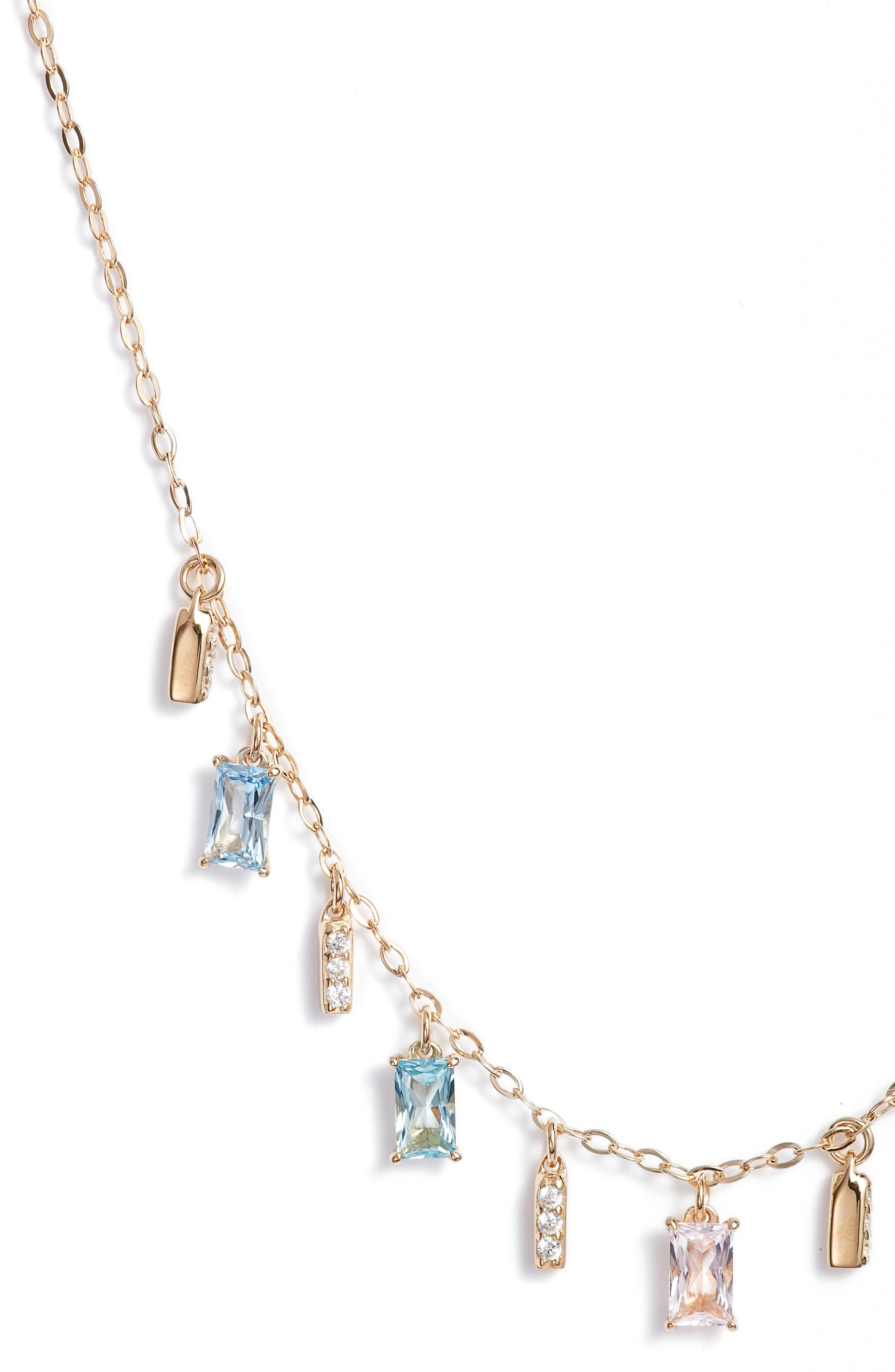 Crystal Drop Frontal Necklace,                             Alternate thumbnail 2, color,                             Gold
