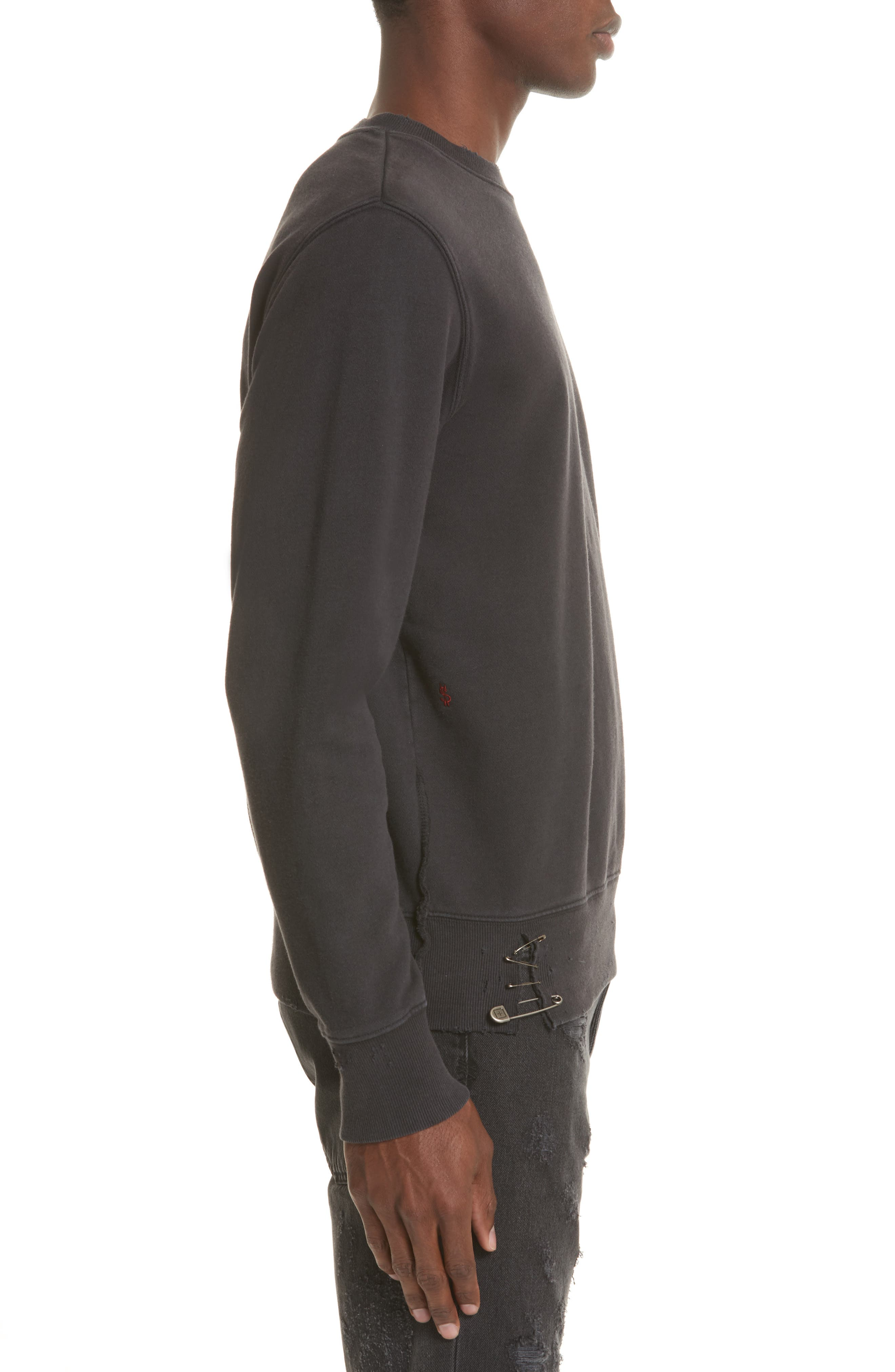 Pins Distressed Sweatshirt,                             Alternate thumbnail 3, color,                             Black