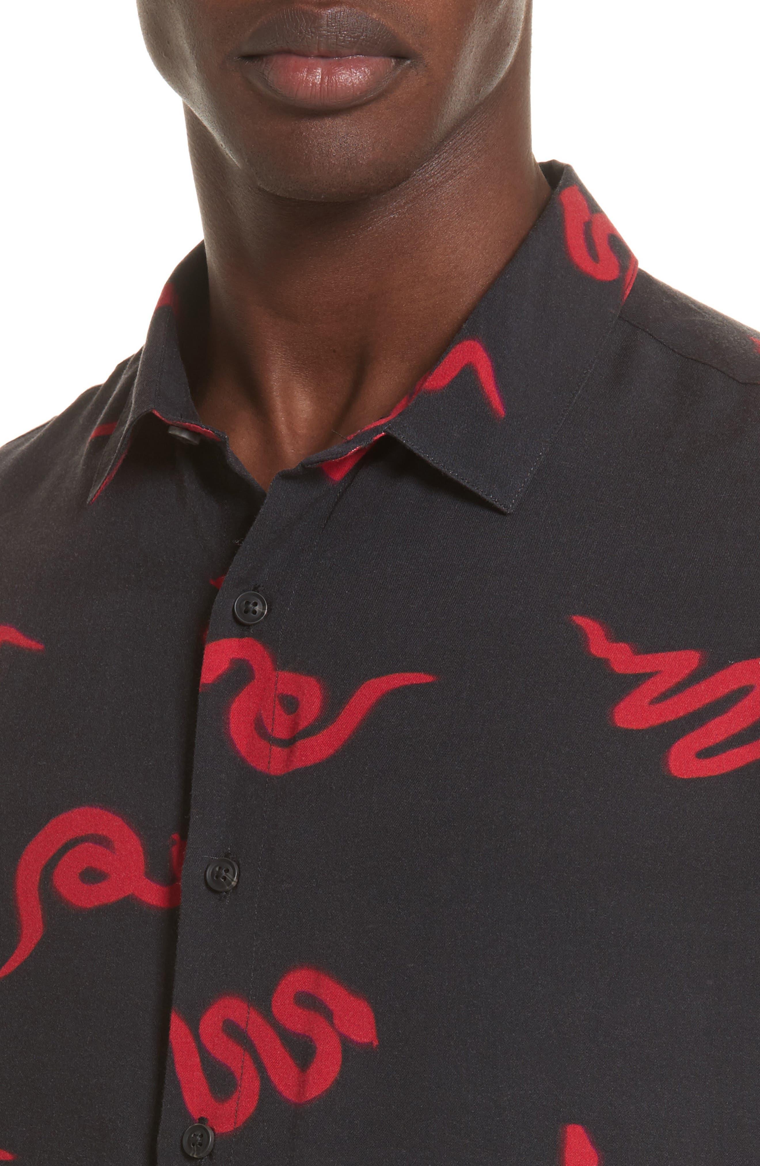 Neon Snake Print Rayon Shirt,                             Alternate thumbnail 2, color,                             Black/ Red