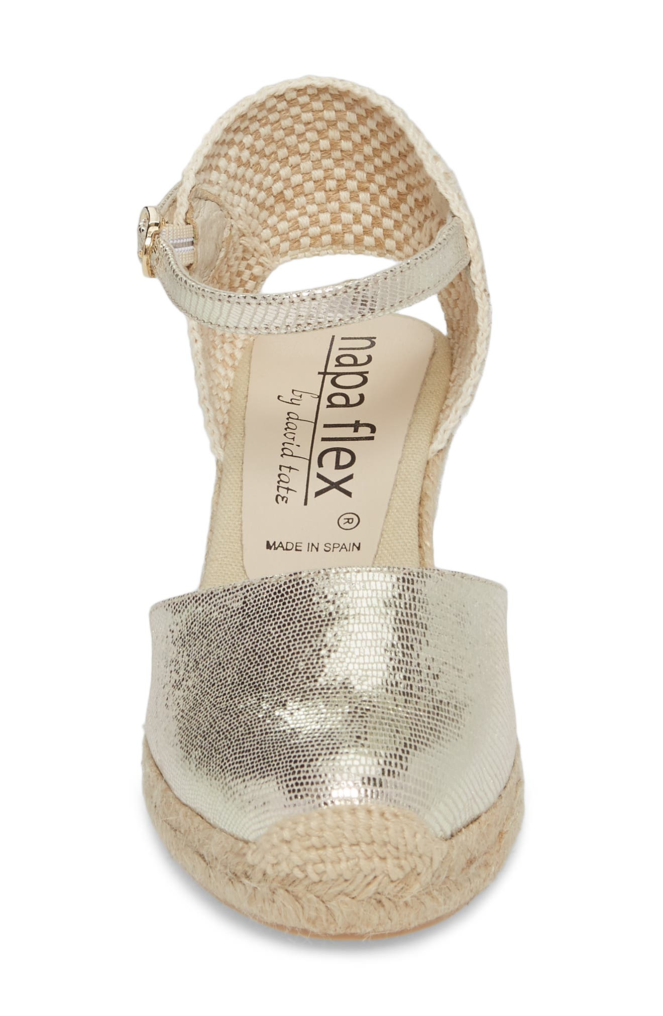 Europa Wedge Sandal,                             Alternate thumbnail 4, color,                             Gold Lizard Printed Leather