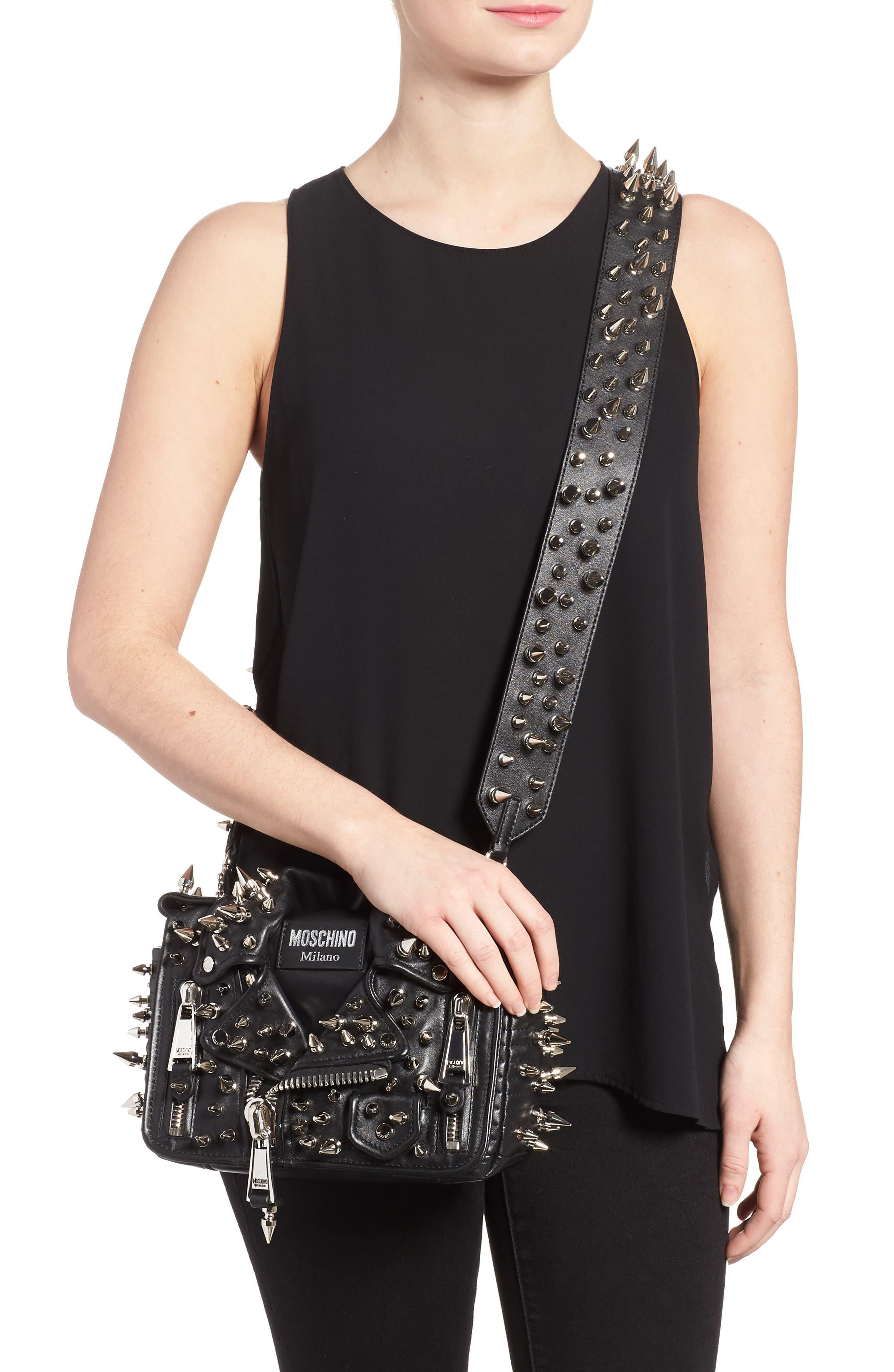 Spiked Biker Jacket Crossbody Bag,                             Alternate thumbnail 2, color,                             Black/ Nickel