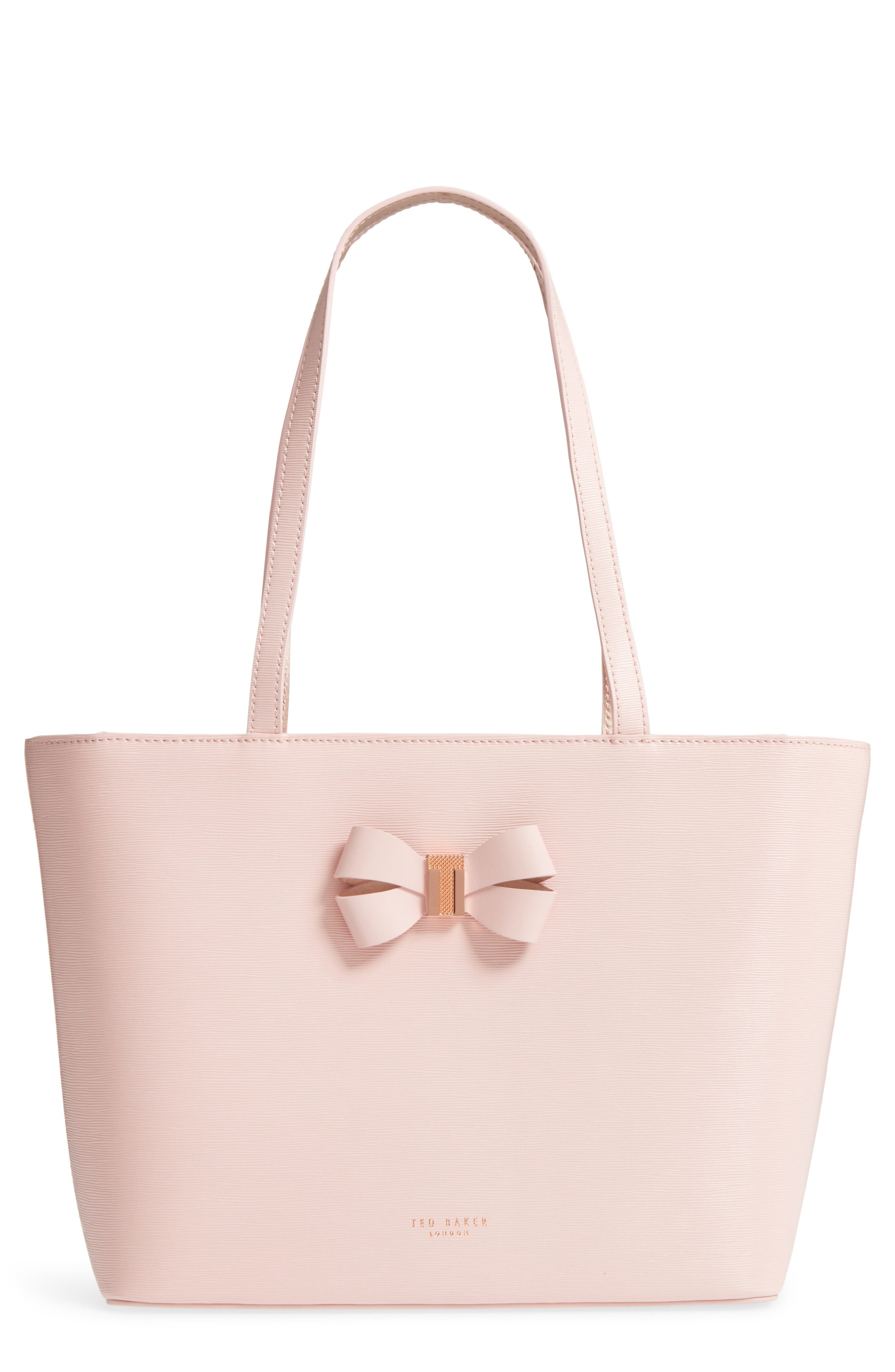 Small Bowmisa Leather Shopper & Pouch,                         Main,                         color, Light Pink