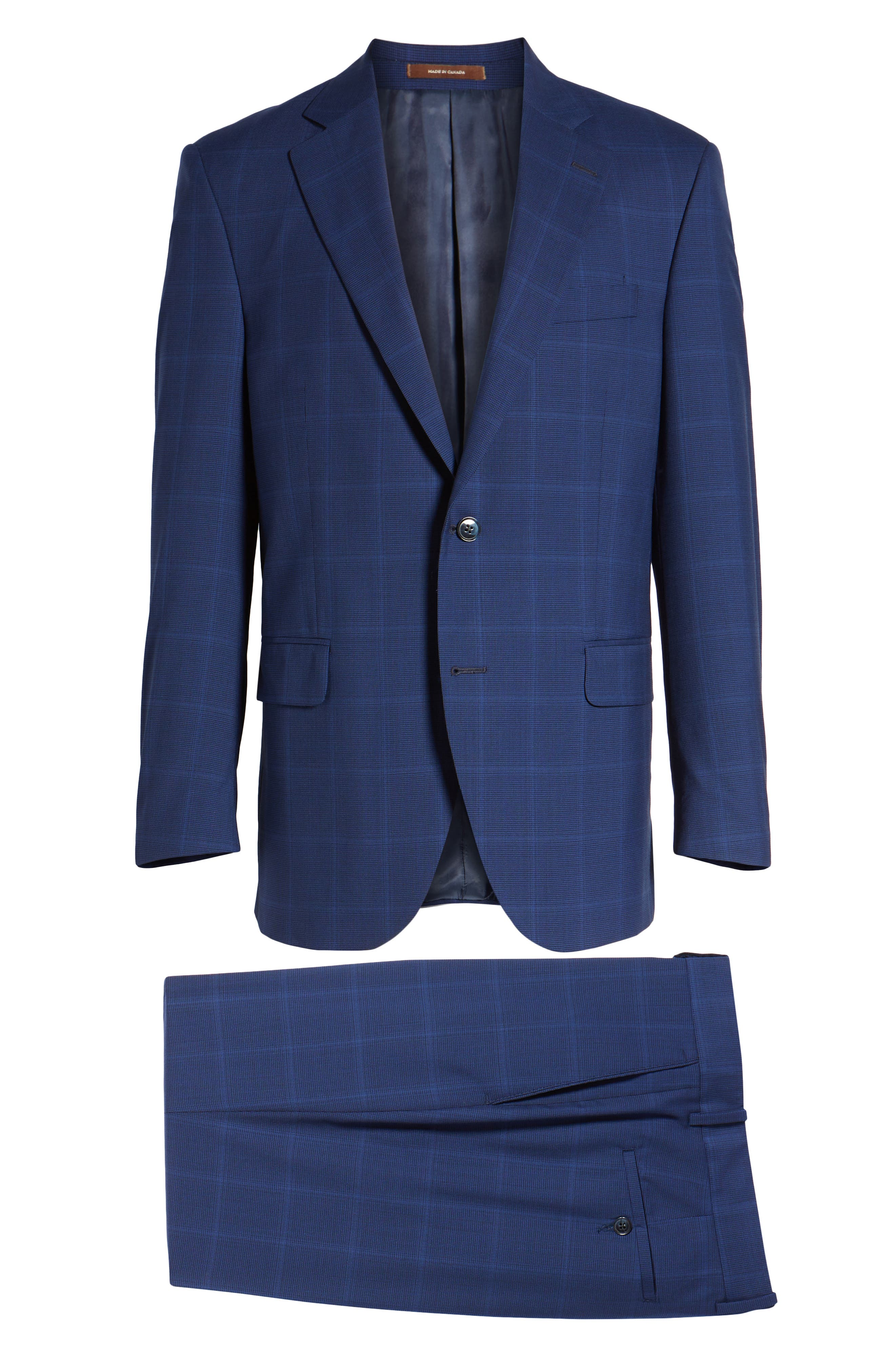 Classic Fit Windowpane Wool Suit,                             Alternate thumbnail 8, color,                             Navy