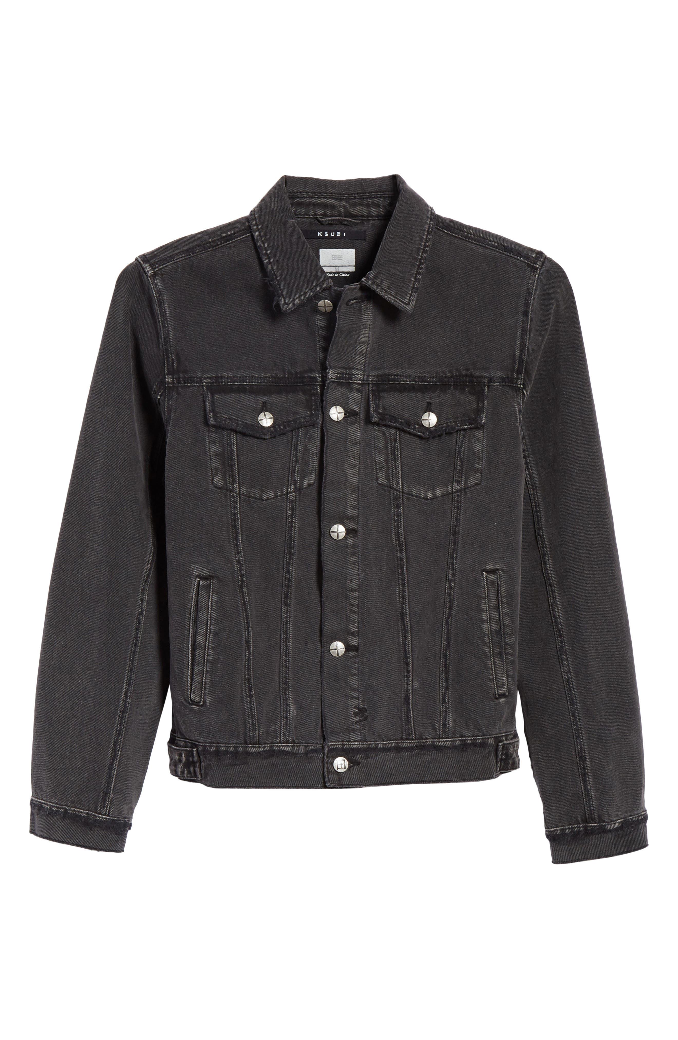 Classic Denim Jacket,                             Alternate thumbnail 6, color,                             Black