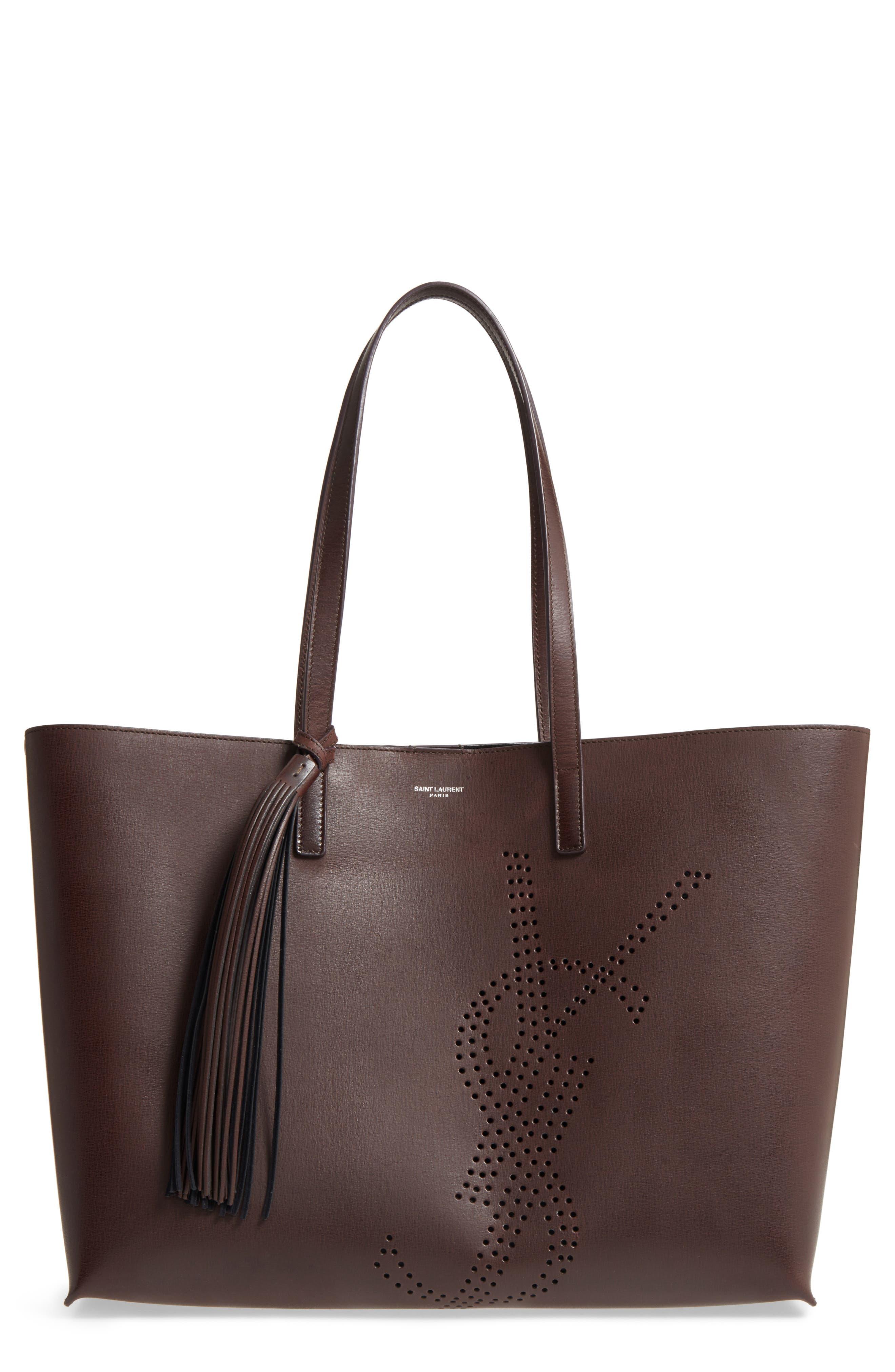 Saint Laurent Perforated Logo Calfskin Leather Shopper