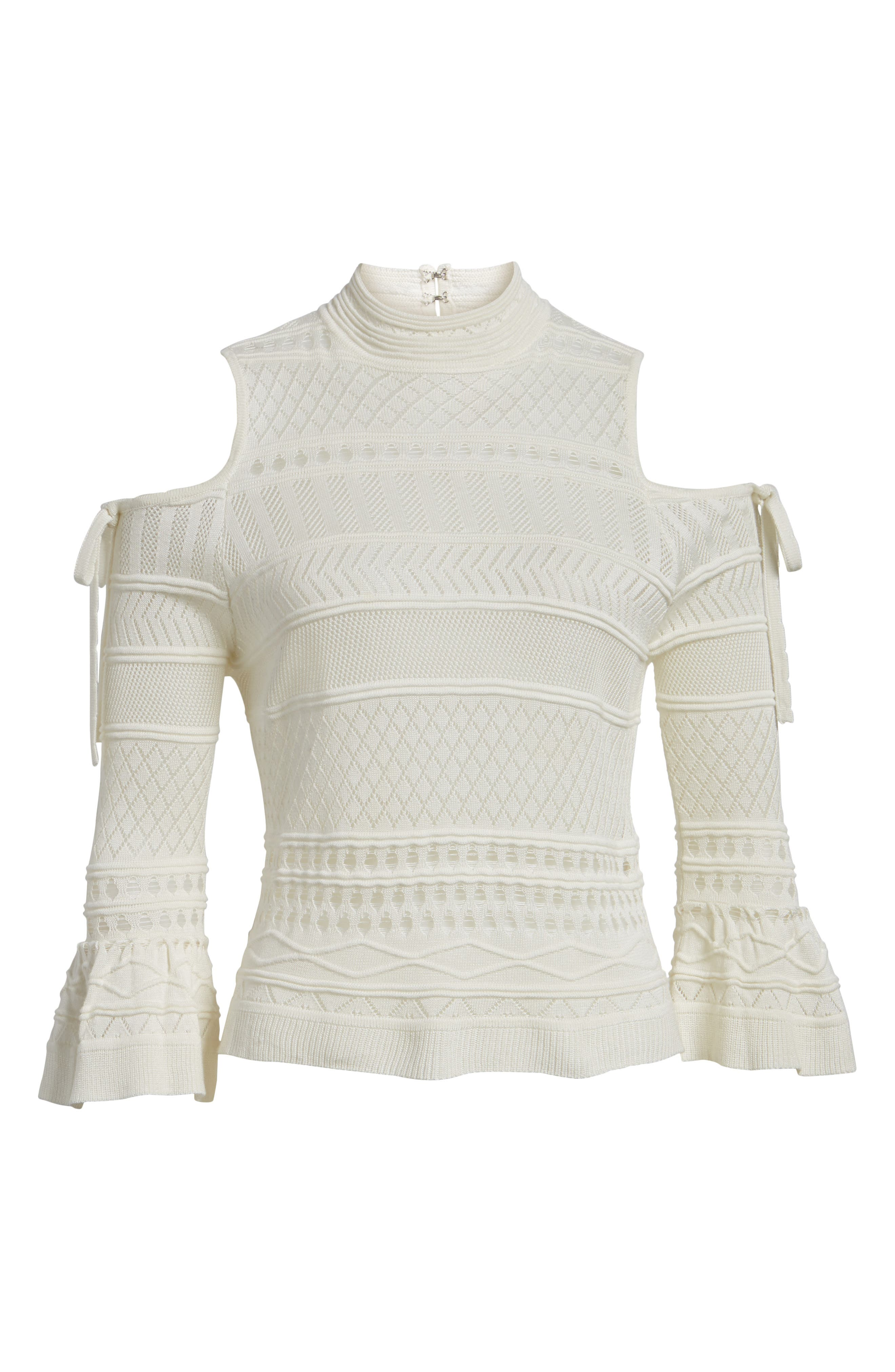 Annabel Cold Shoulder Pointelle Sweater,                             Alternate thumbnail 7, color,                             Ivory