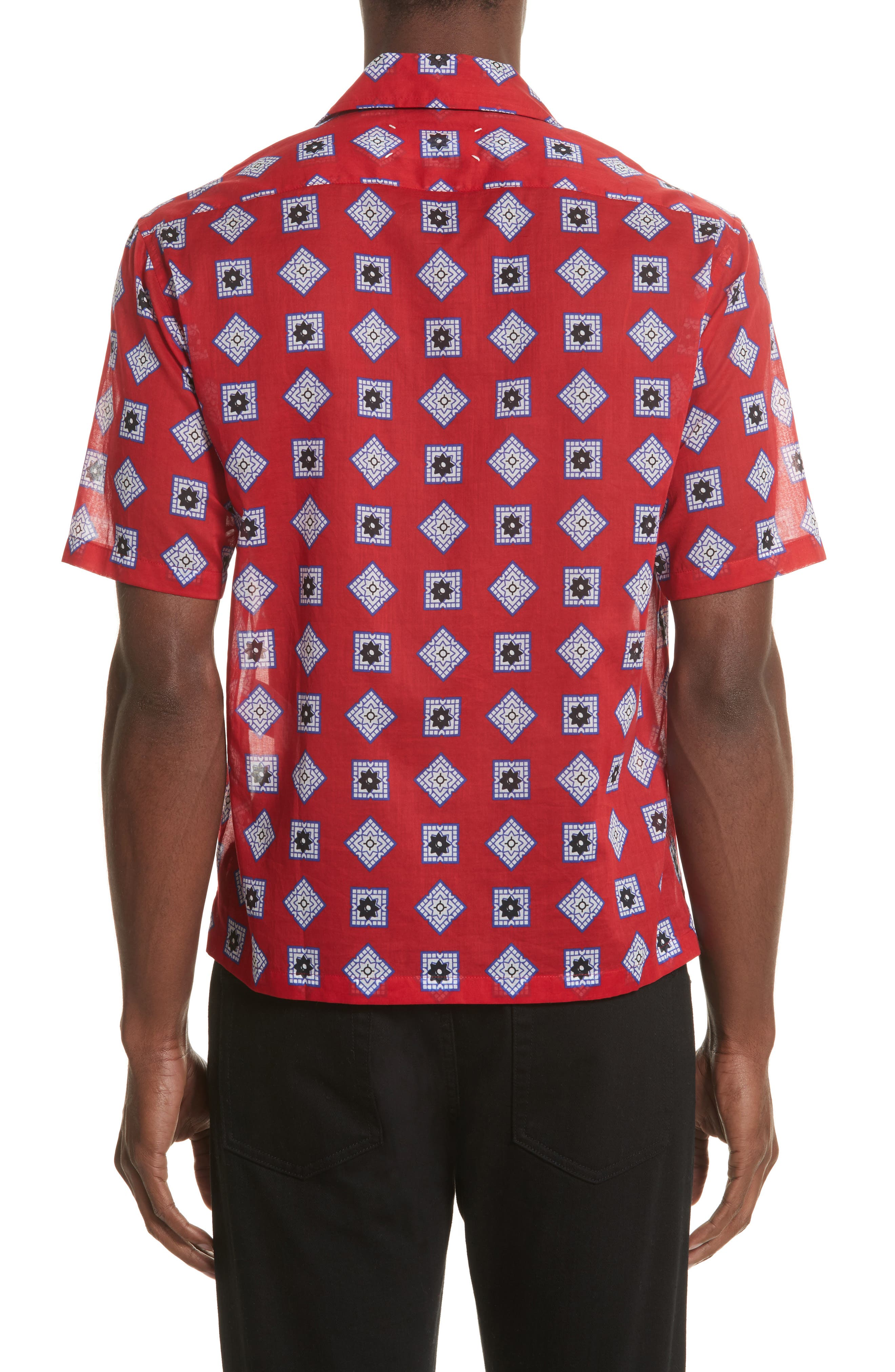 Muslin Print Camp Shirt,                             Alternate thumbnail 3, color,                             Red