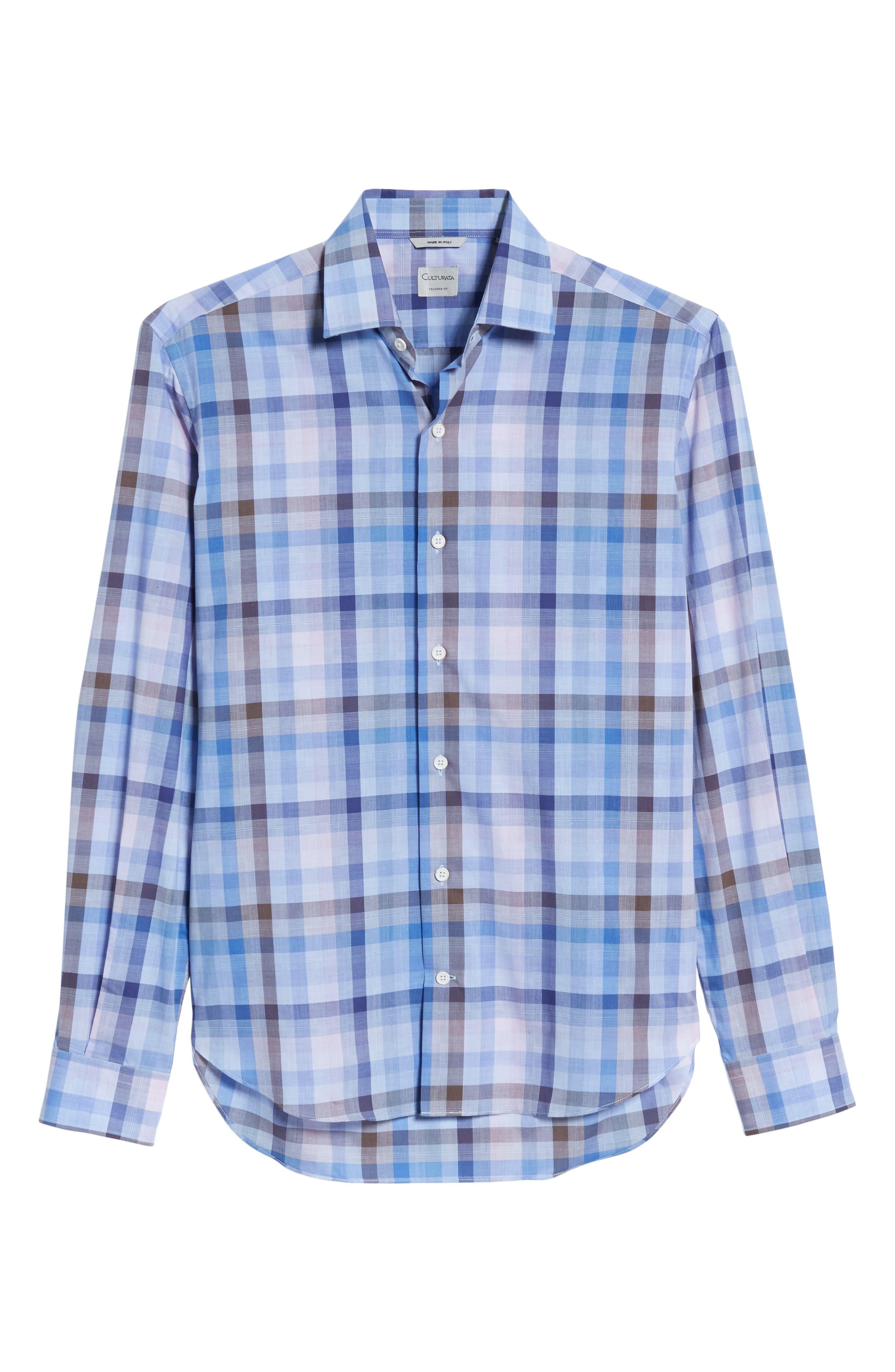 Tailored Fit Plaid Sport Shirt,                             Alternate thumbnail 6, color,                             Pink