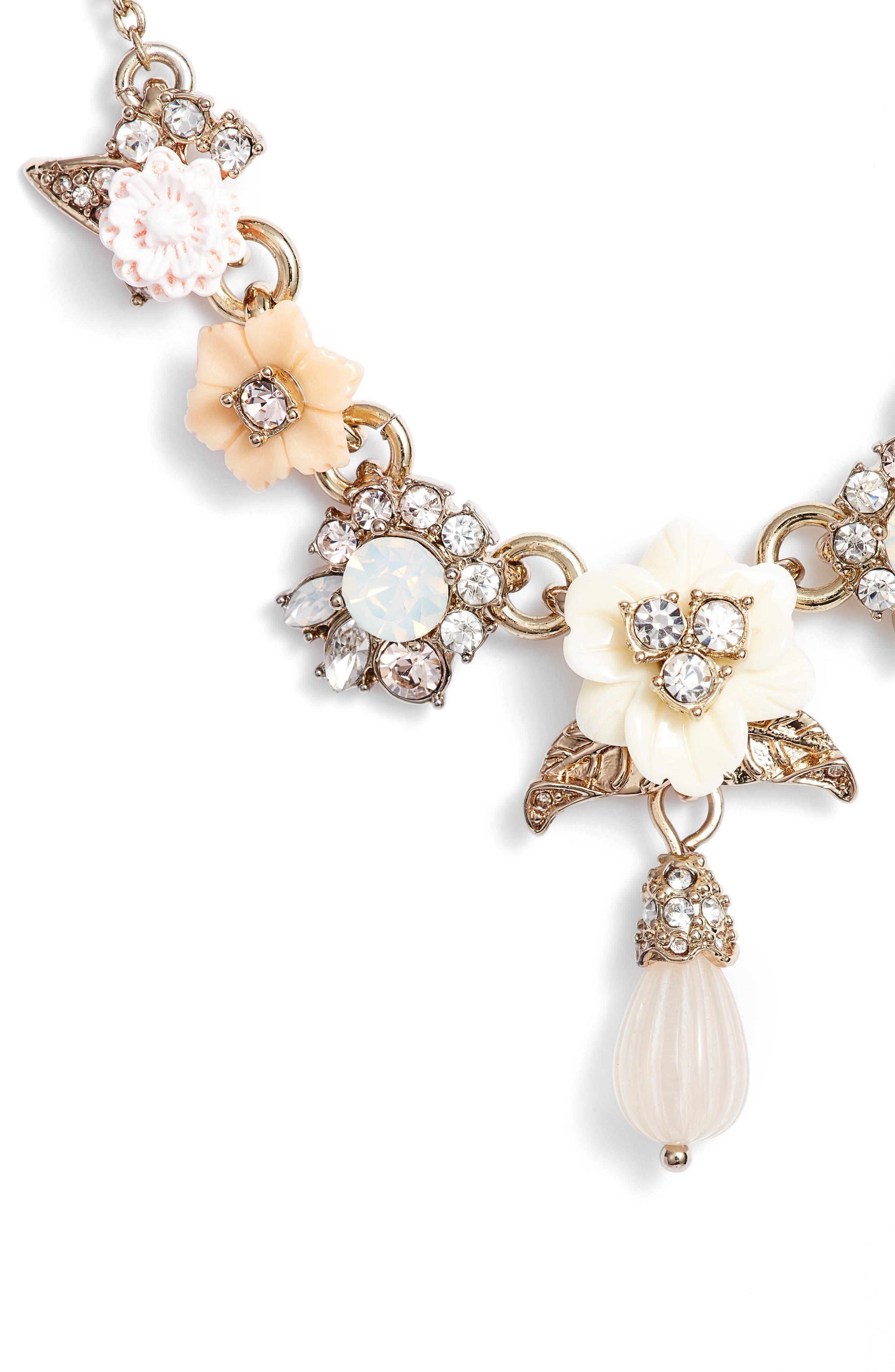 Floral Drop Necklace,                         Main,                         color, Gold/ White Multi