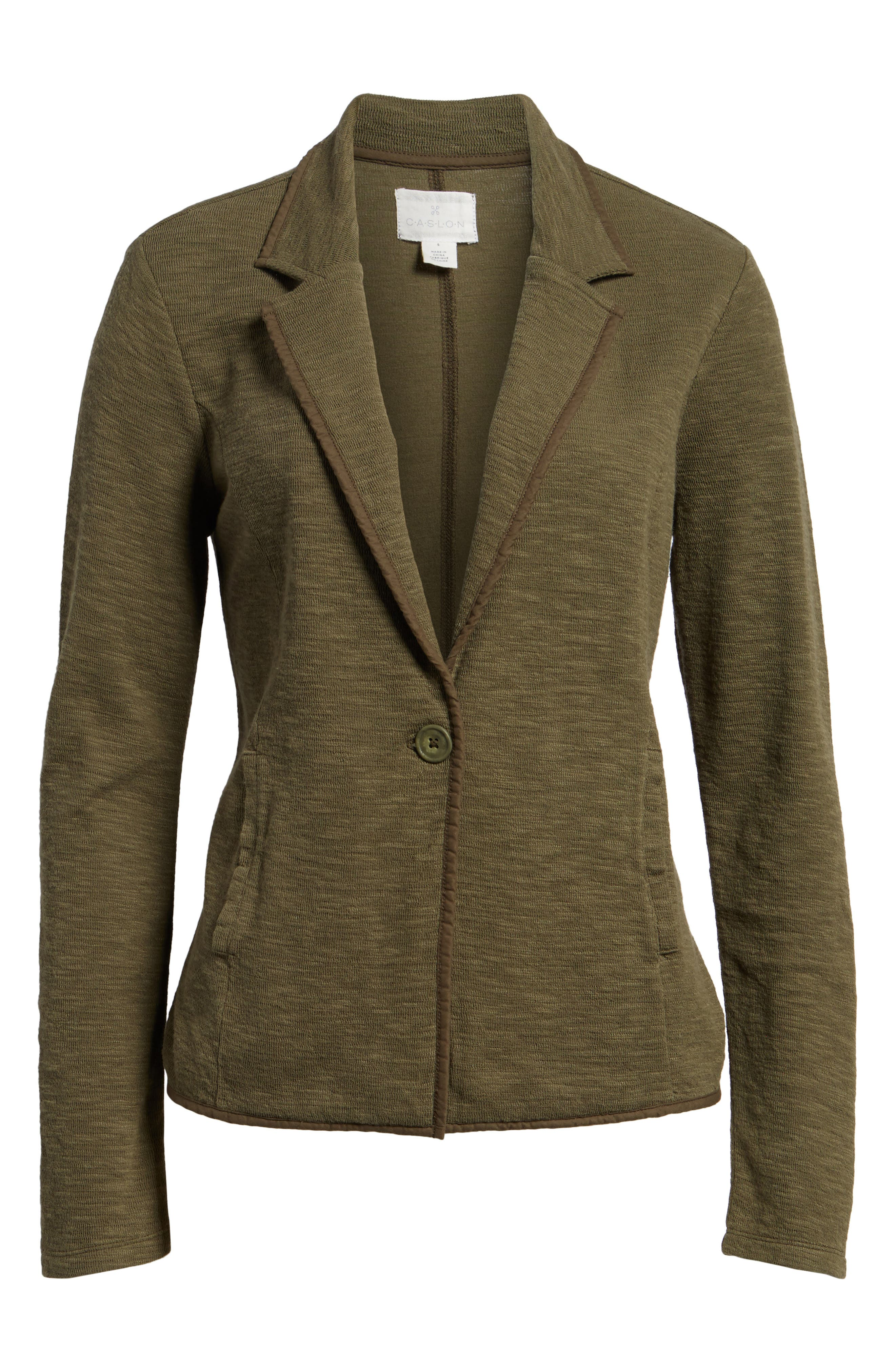 One-Button Knit Blazer,                             Alternate thumbnail 6, color,                             Olive Sarma