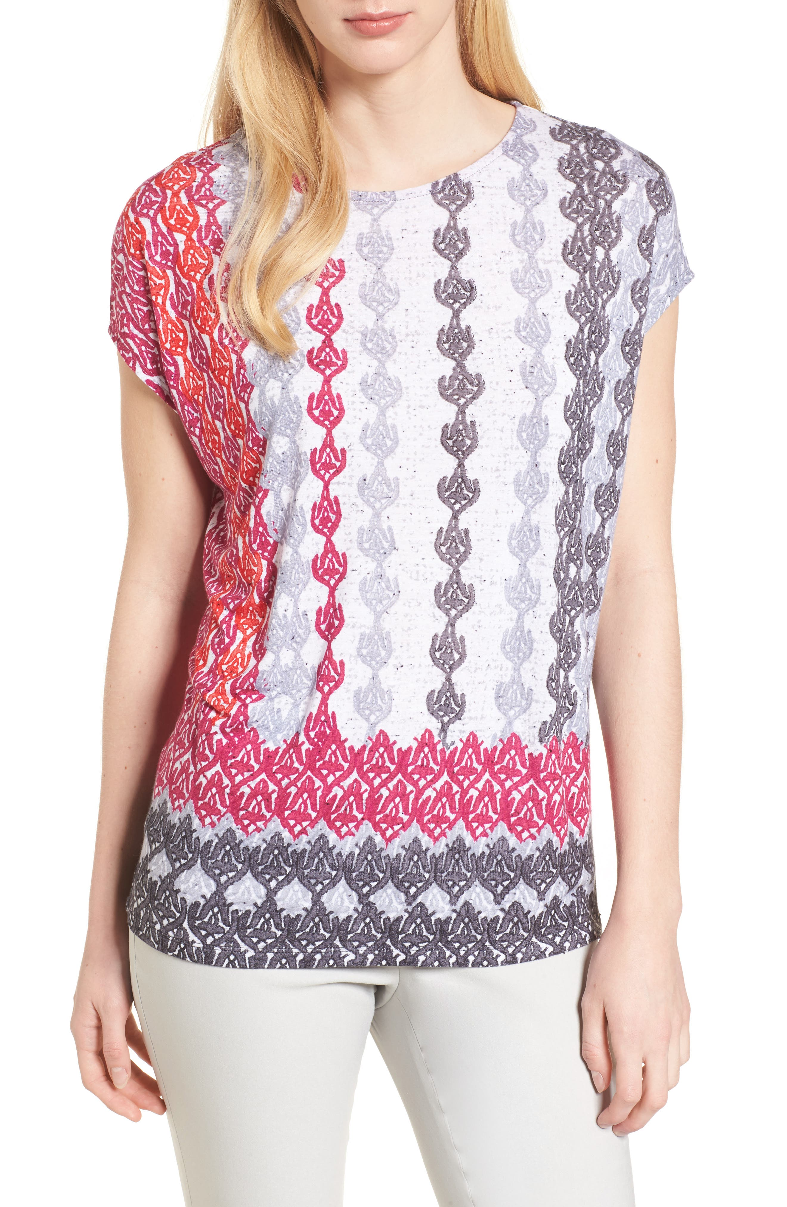 Stained Glass Linen Blend Top,                         Main,                         color, Multi