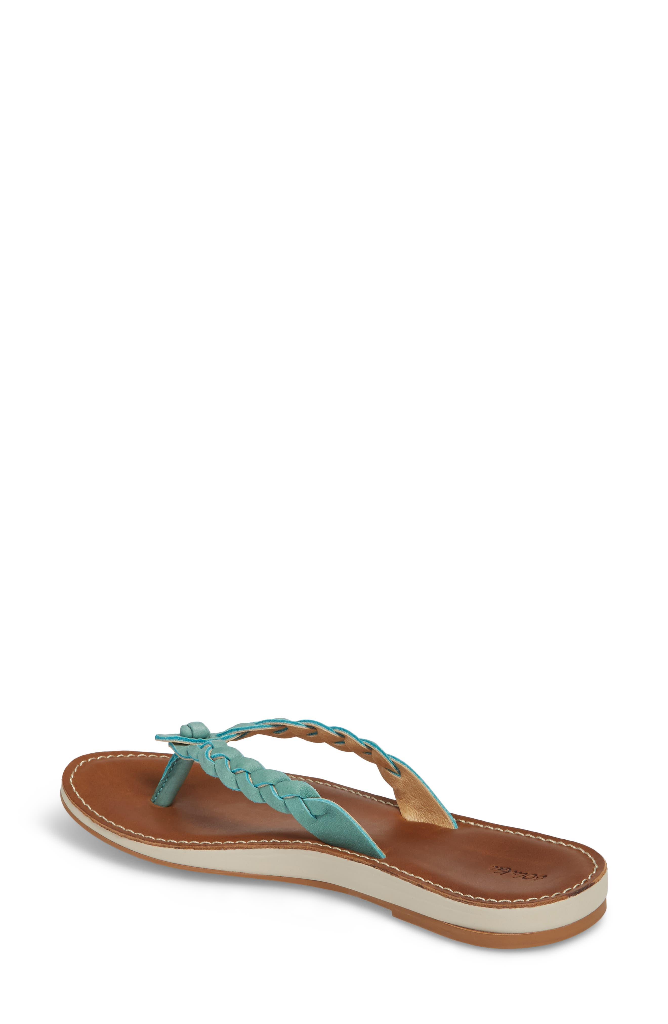 Kahiko Flip-Flop,                             Alternate thumbnail 2, color,                             Sea/ Tan Leather