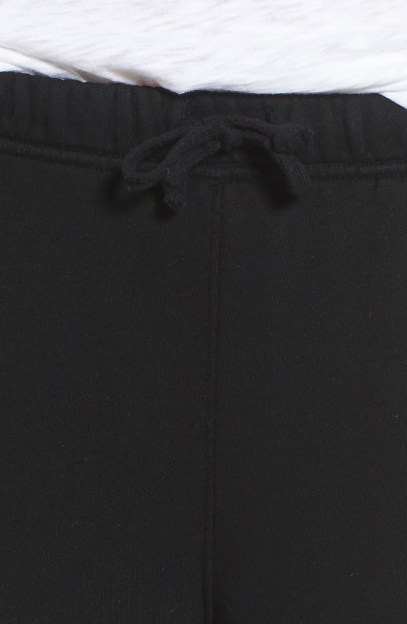 Raw Hem Crop Sweatpants,                             Alternate thumbnail 4, color,                             Blackout