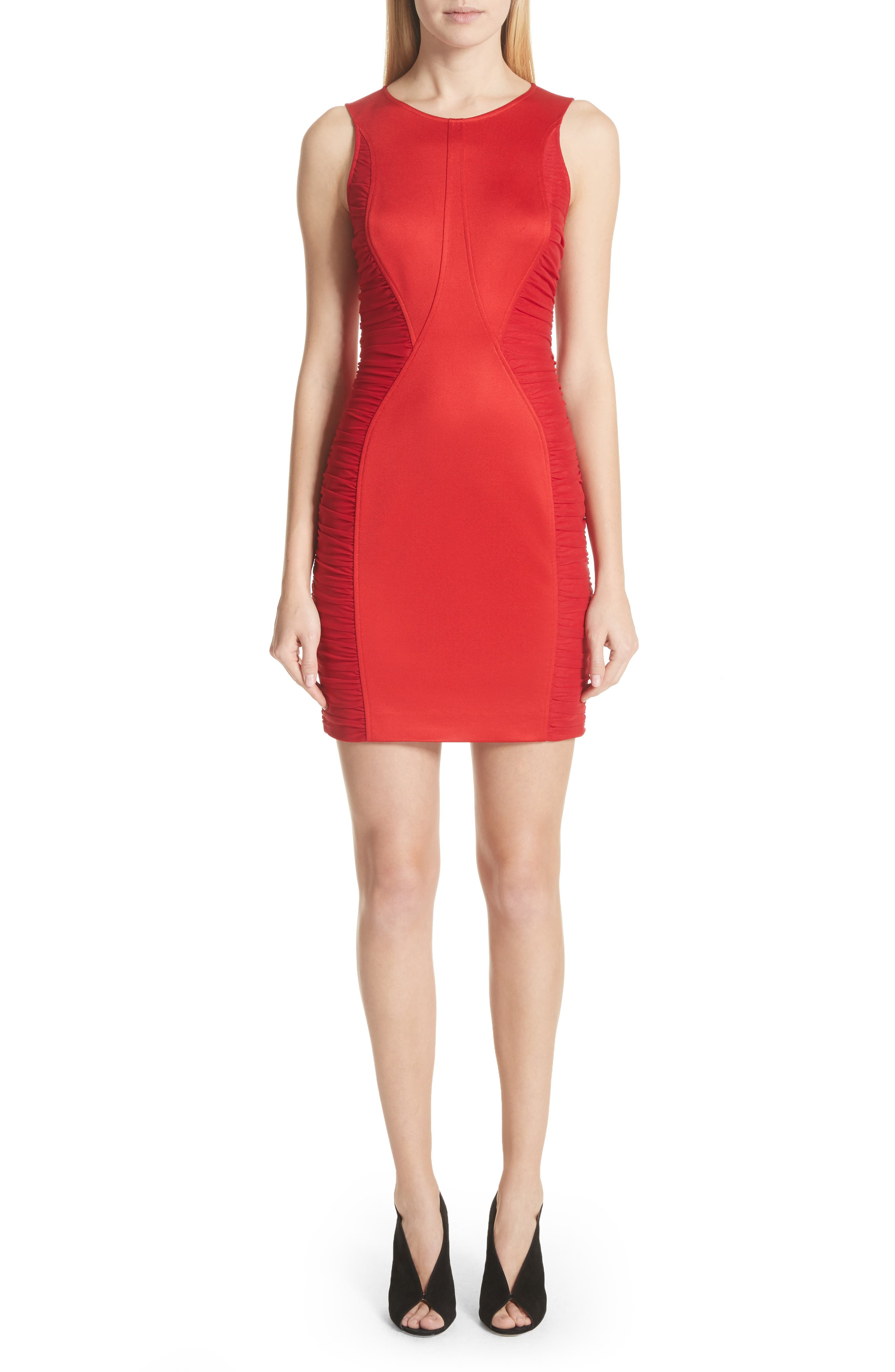 Ruched Piqué Sheath Dress,                         Main,                         color, Red