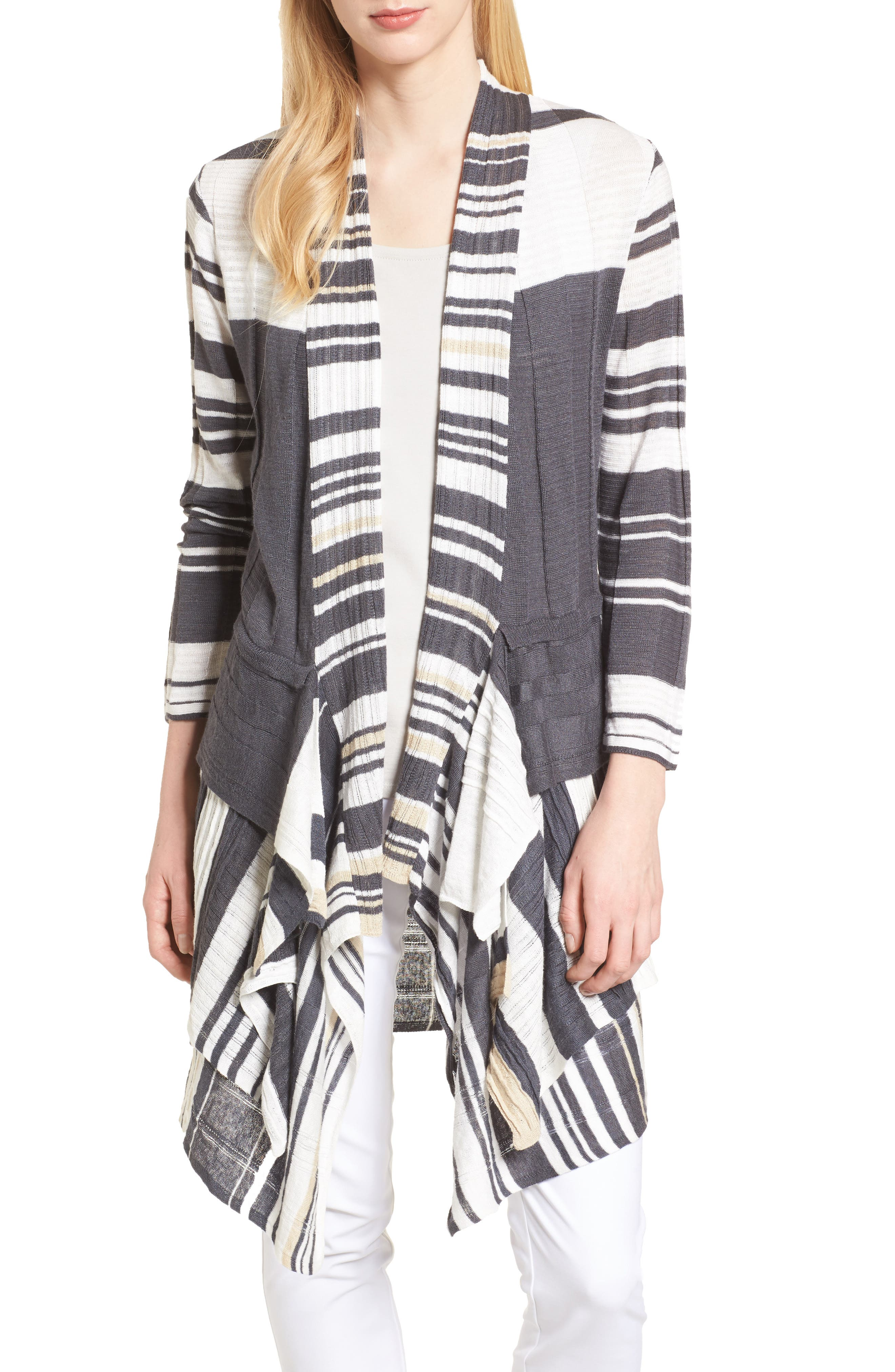 Spice Market Waterfall Linen Blend Cardigan,                         Main,                         color, Multi