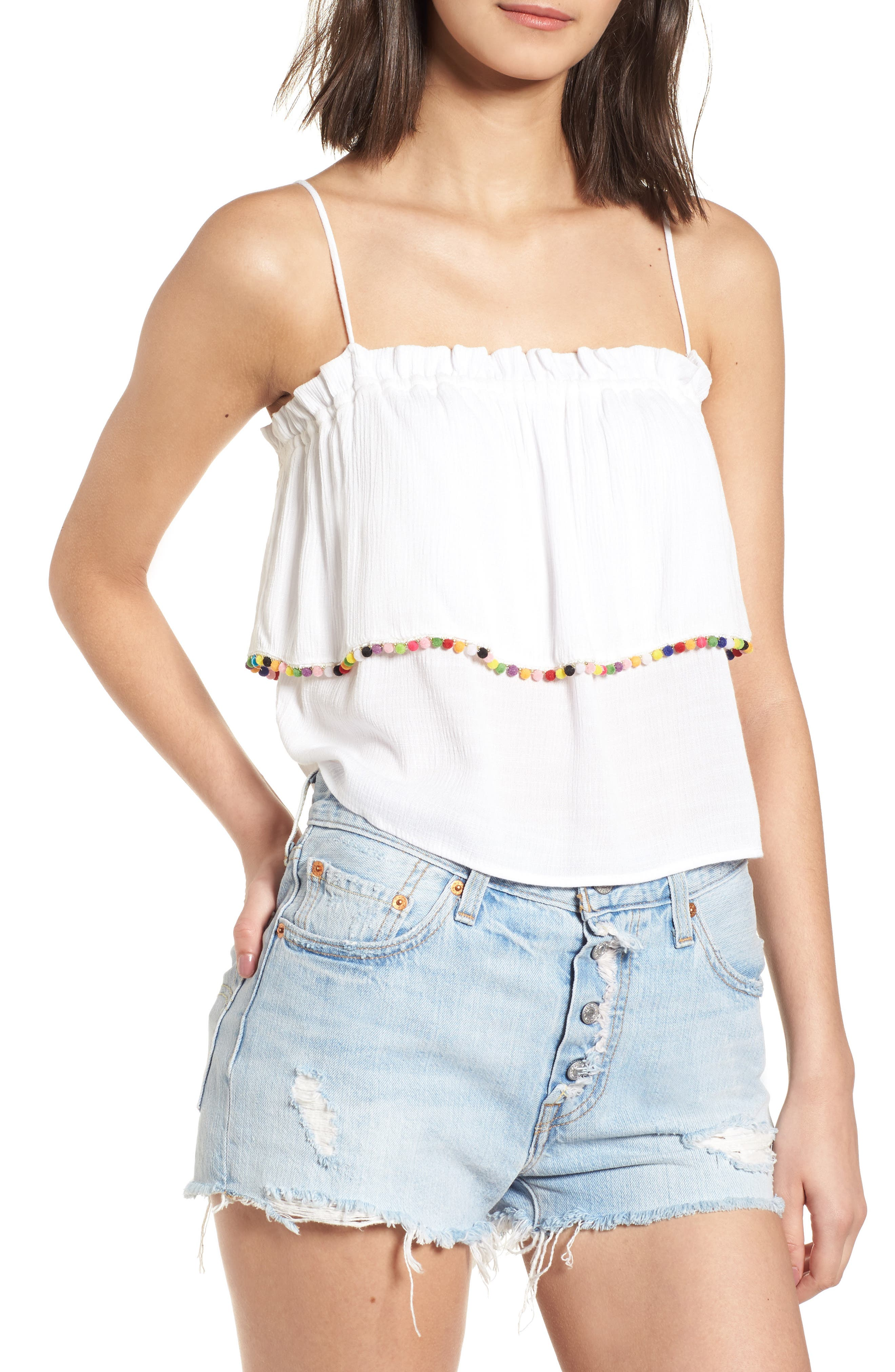 Pompom Trim Ruffle Top,                         Main,                         color, White