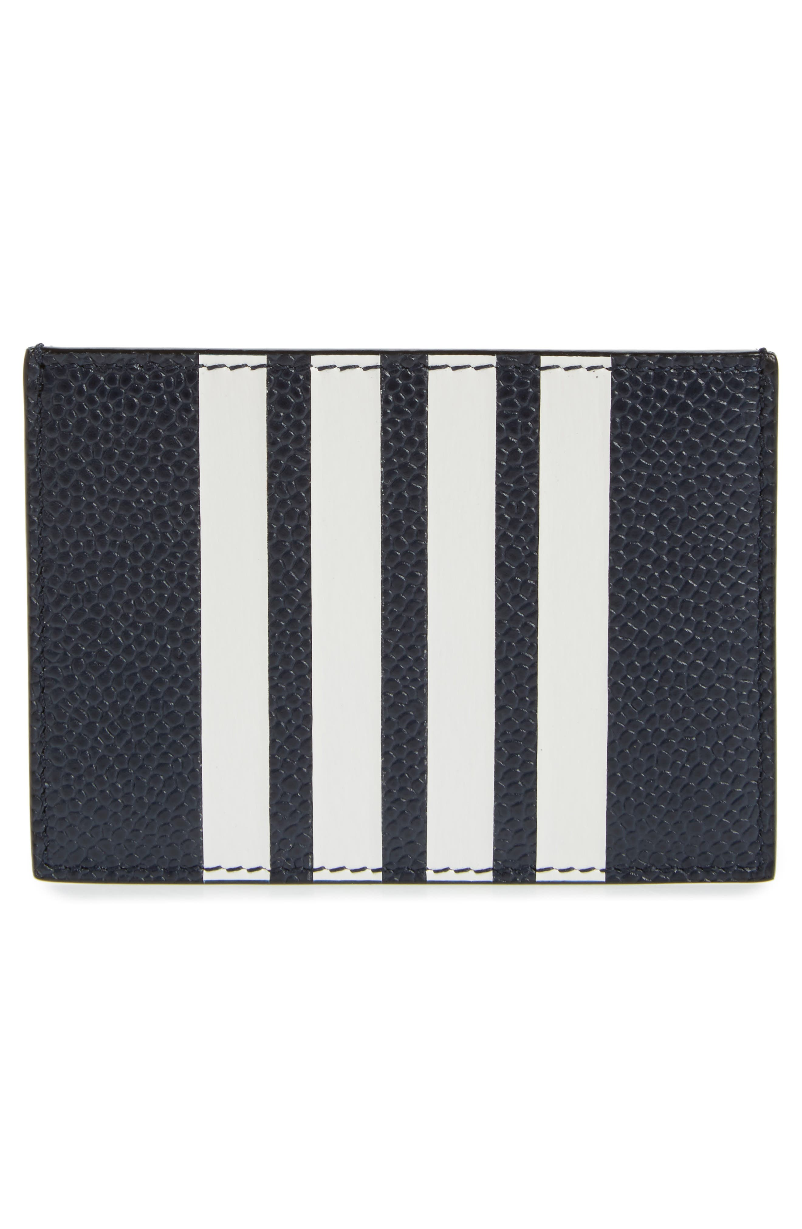 Stripe Leather Card Case,                             Alternate thumbnail 2, color,                             Navy