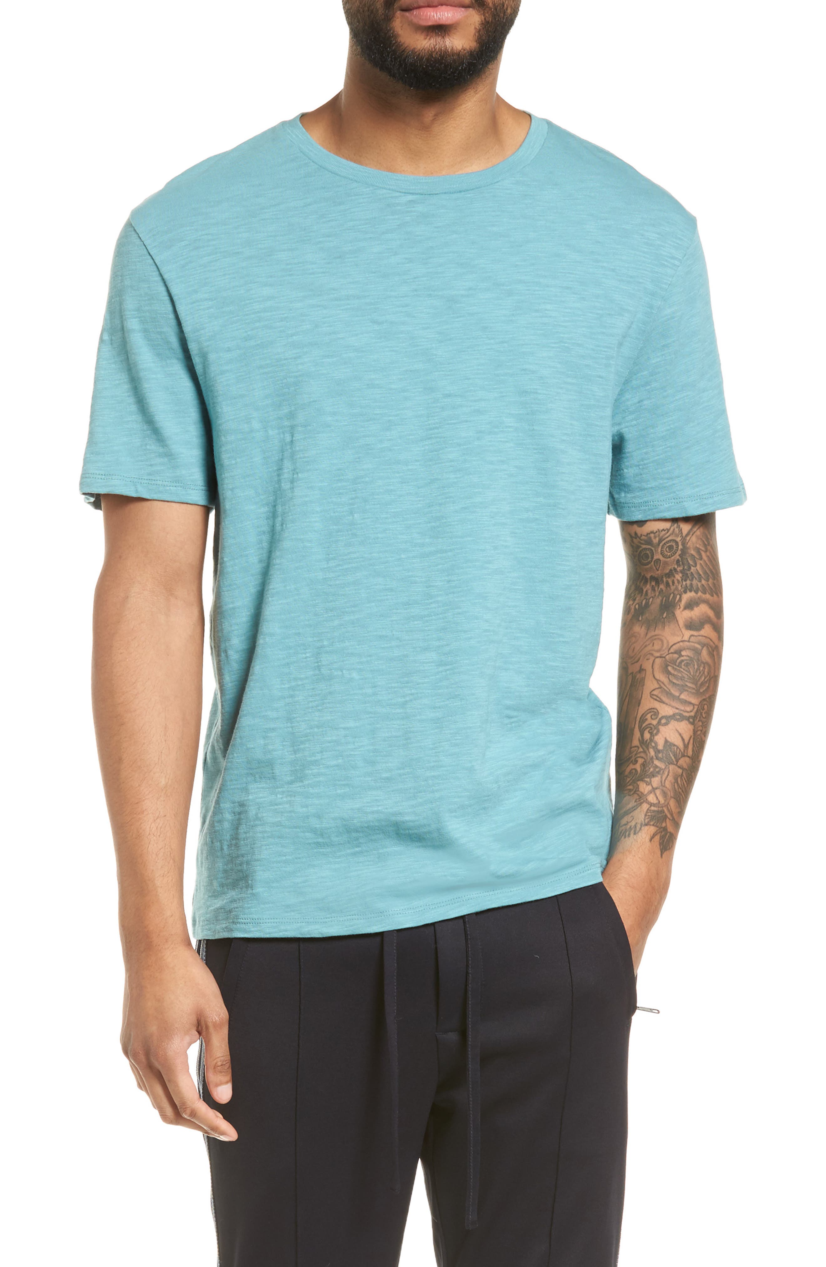 Slim Fit Slub Cotton T-Shirt,                             Main thumbnail 1, color,                             Harbor