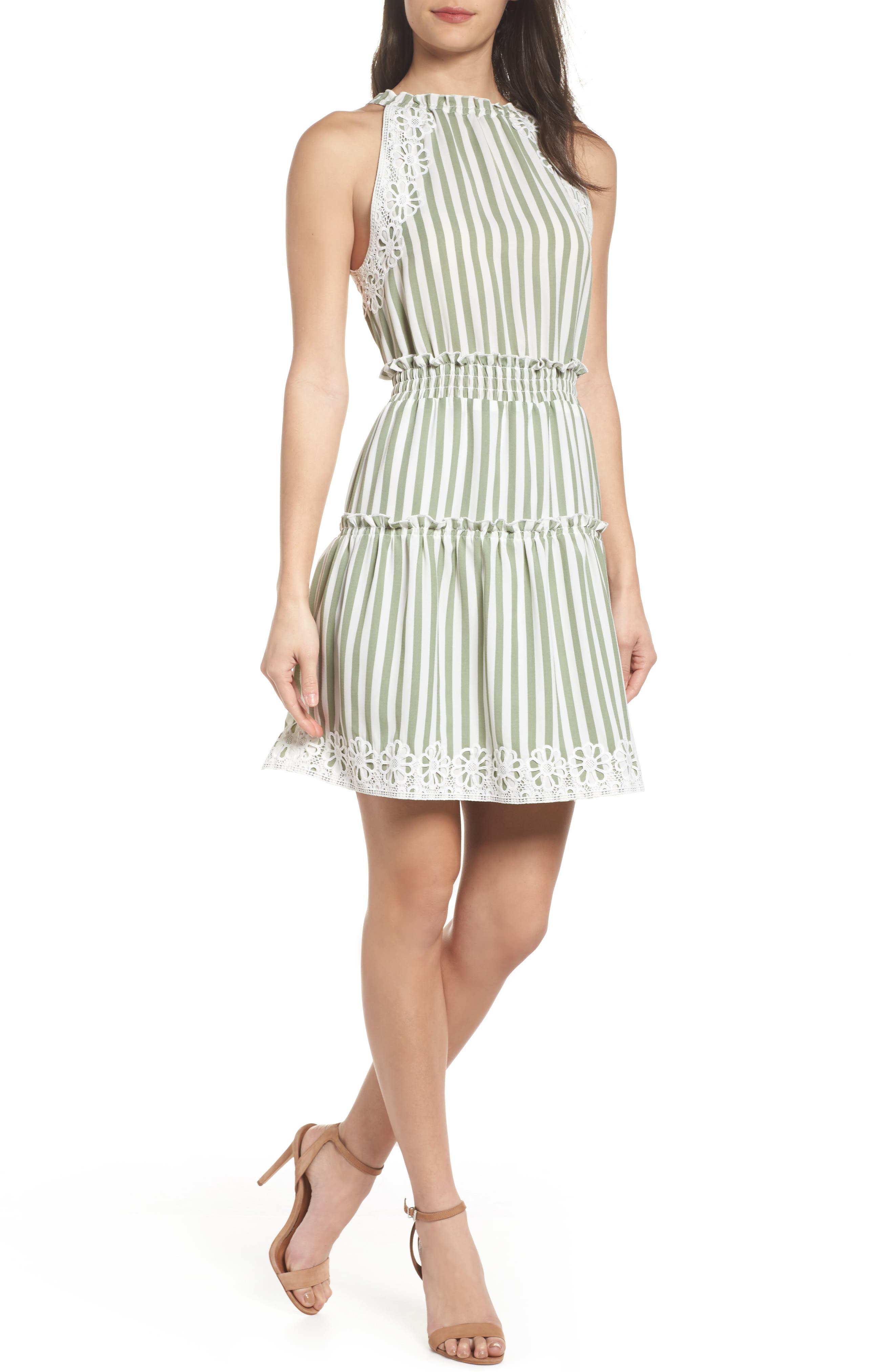 Lauren Stripe Sleeveless Fit & Flare Dress,                         Main,                         color, Sage