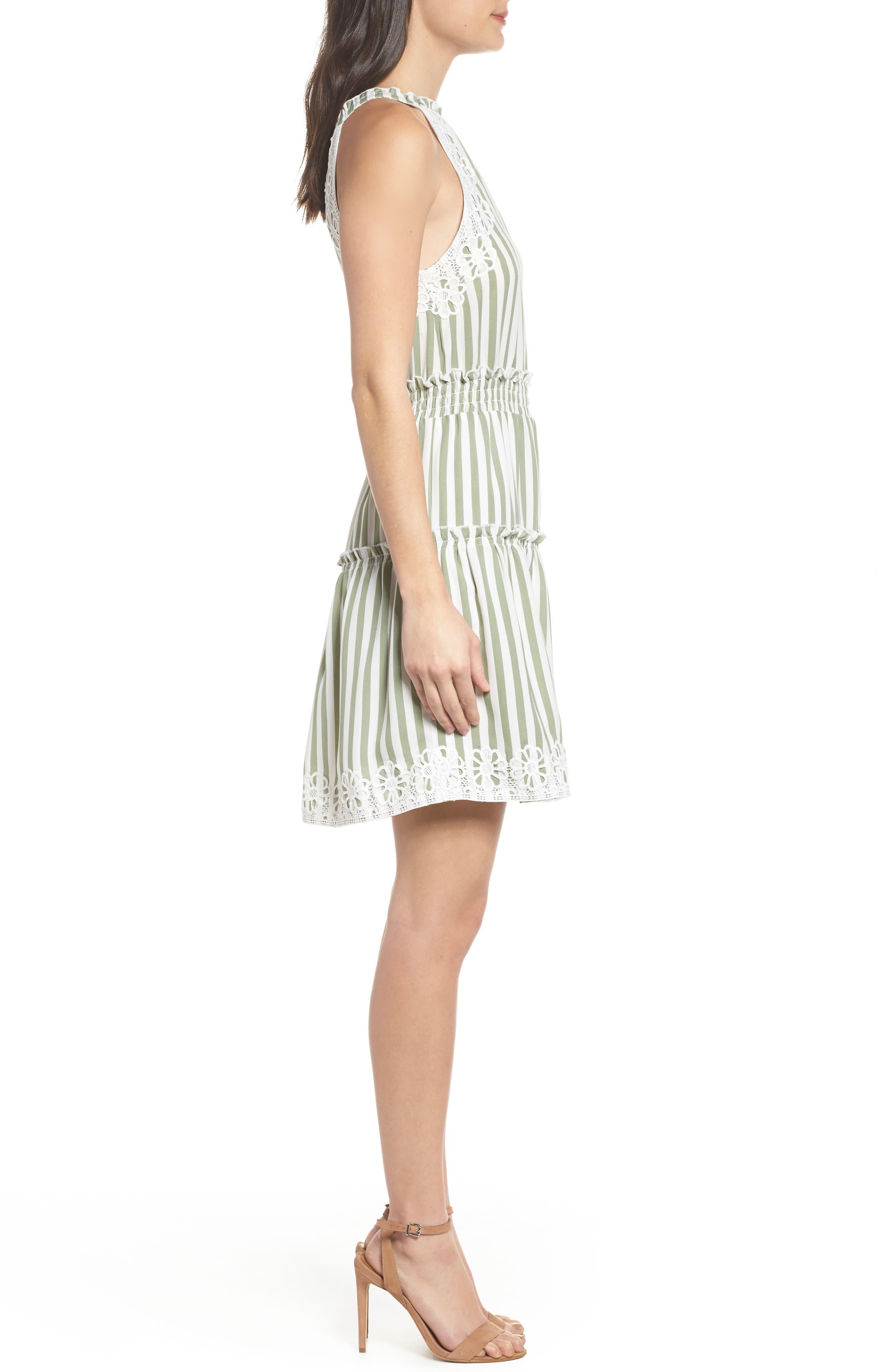 Lauren Stripe Sleeveless Fit & Flare Dress,                             Alternate thumbnail 3, color,                             Sage