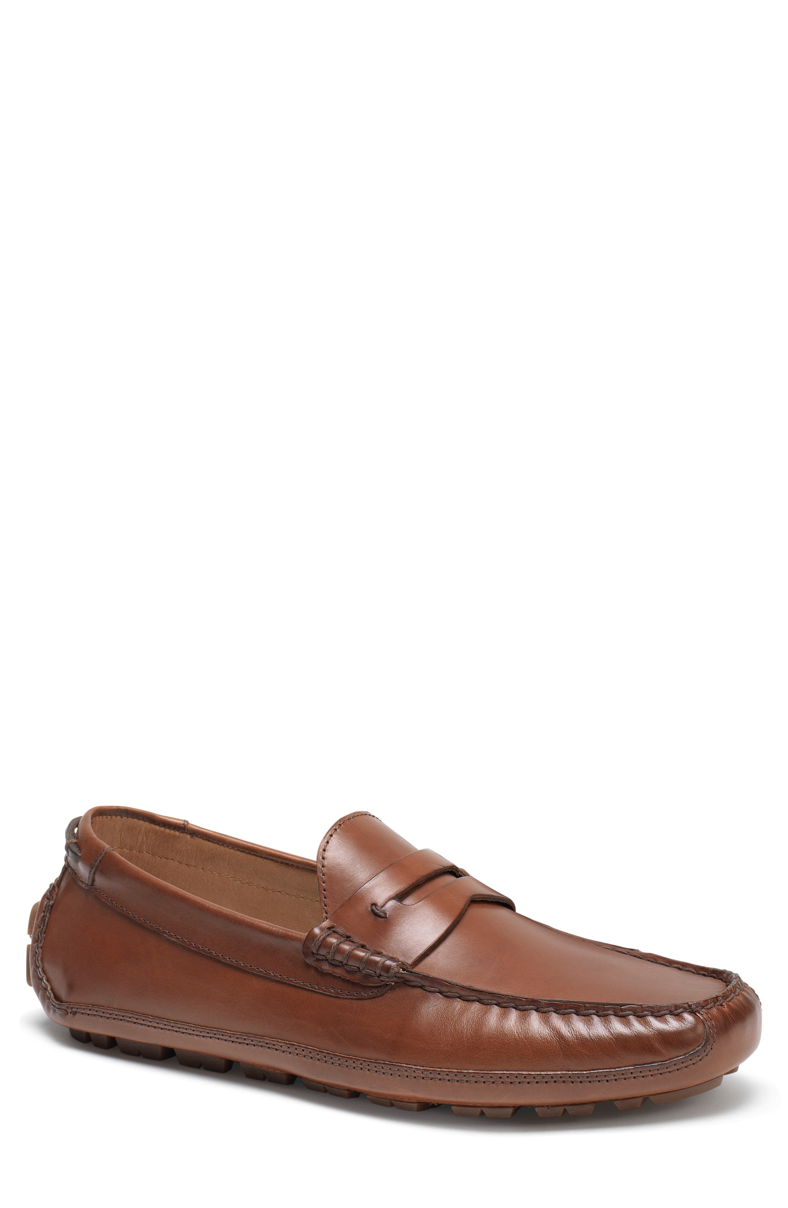 Dawson Water Resistant Driving Loafer,                             Main thumbnail 1, color,                             Light Brown Leather
