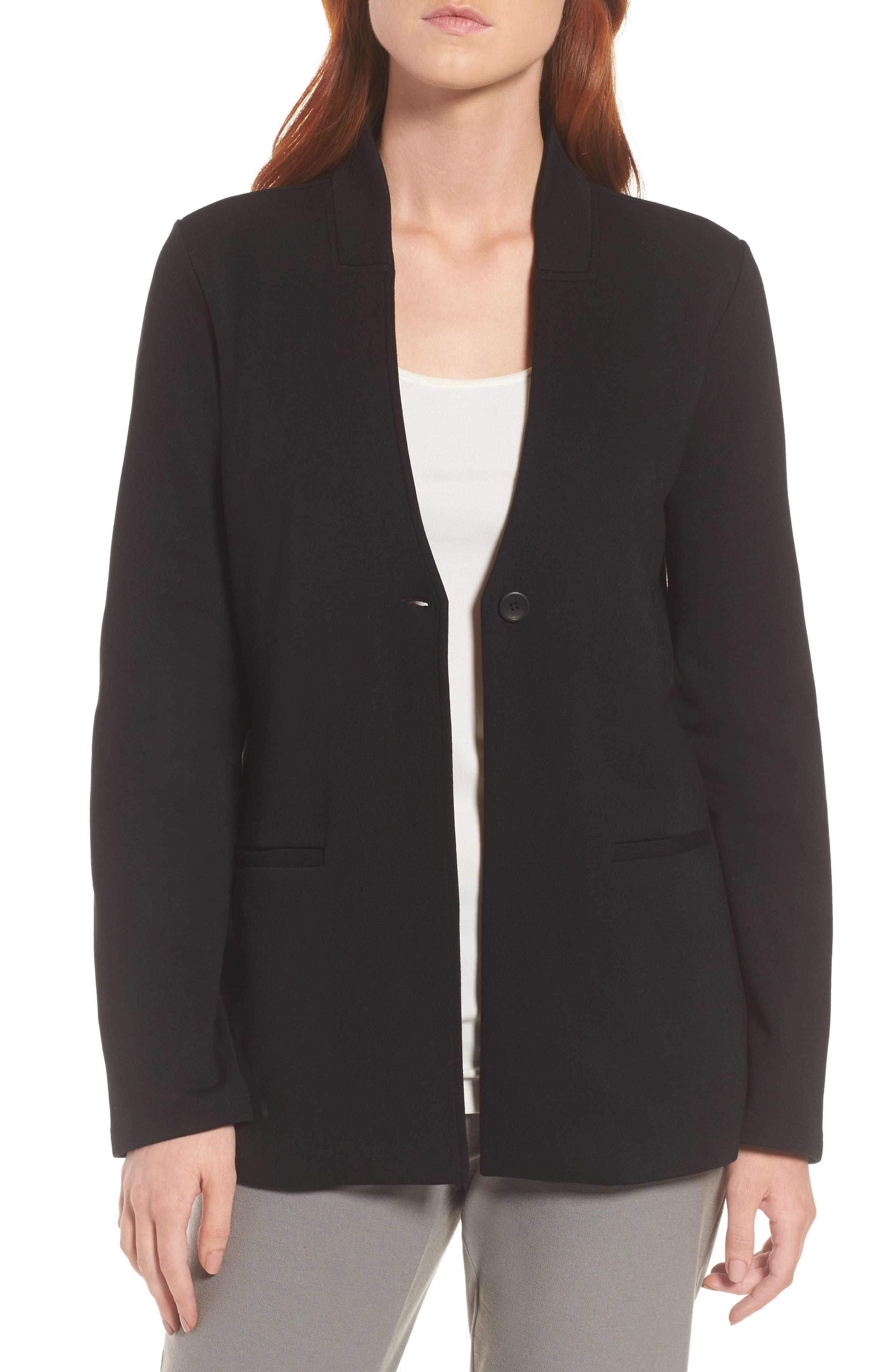 Tencel<sup>®</sup> Lyocell Blend Knit Blazer,                             Main thumbnail 1, color,                             Black